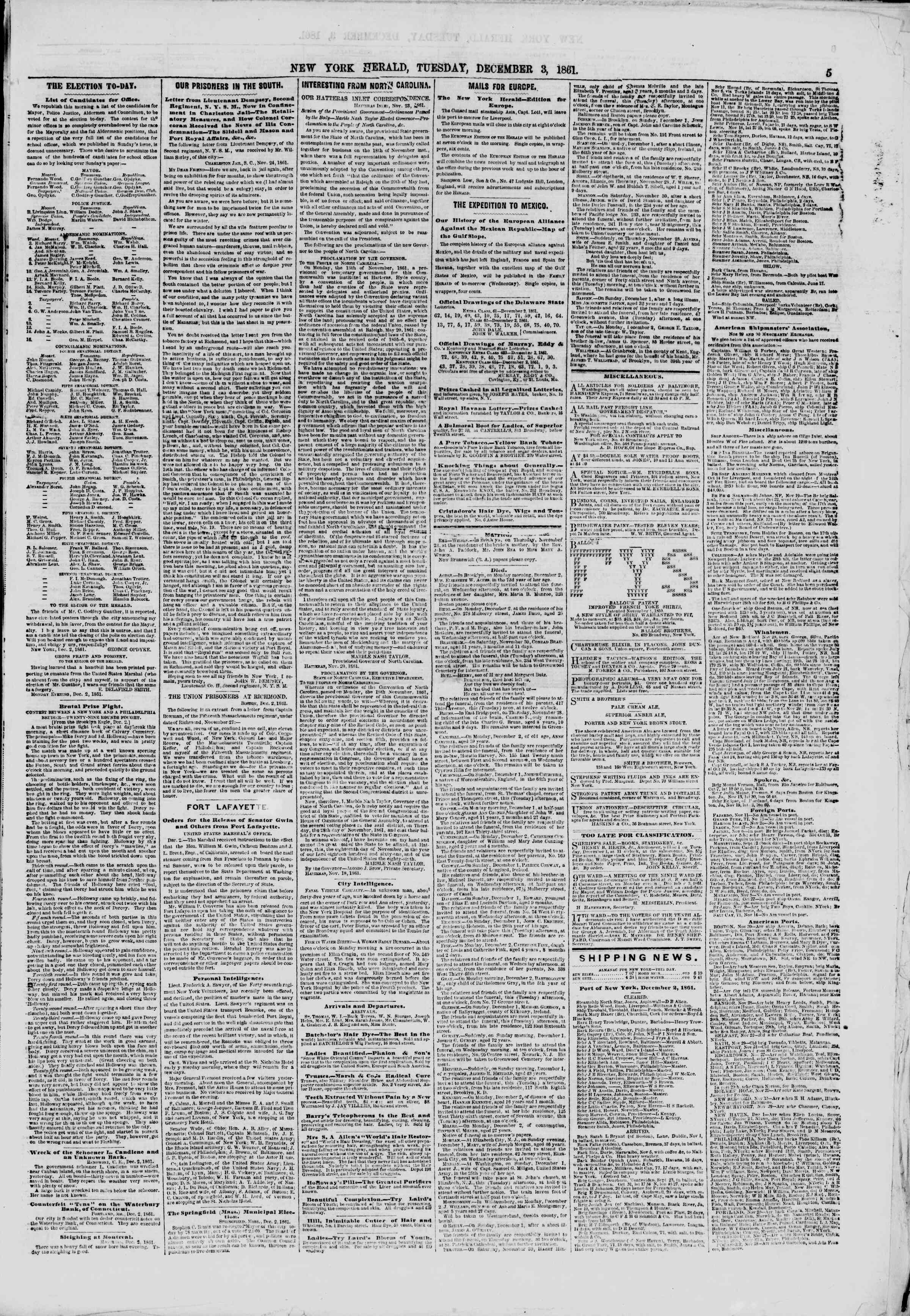 Newspaper of The New York Herald dated December 3, 1861 Page 5