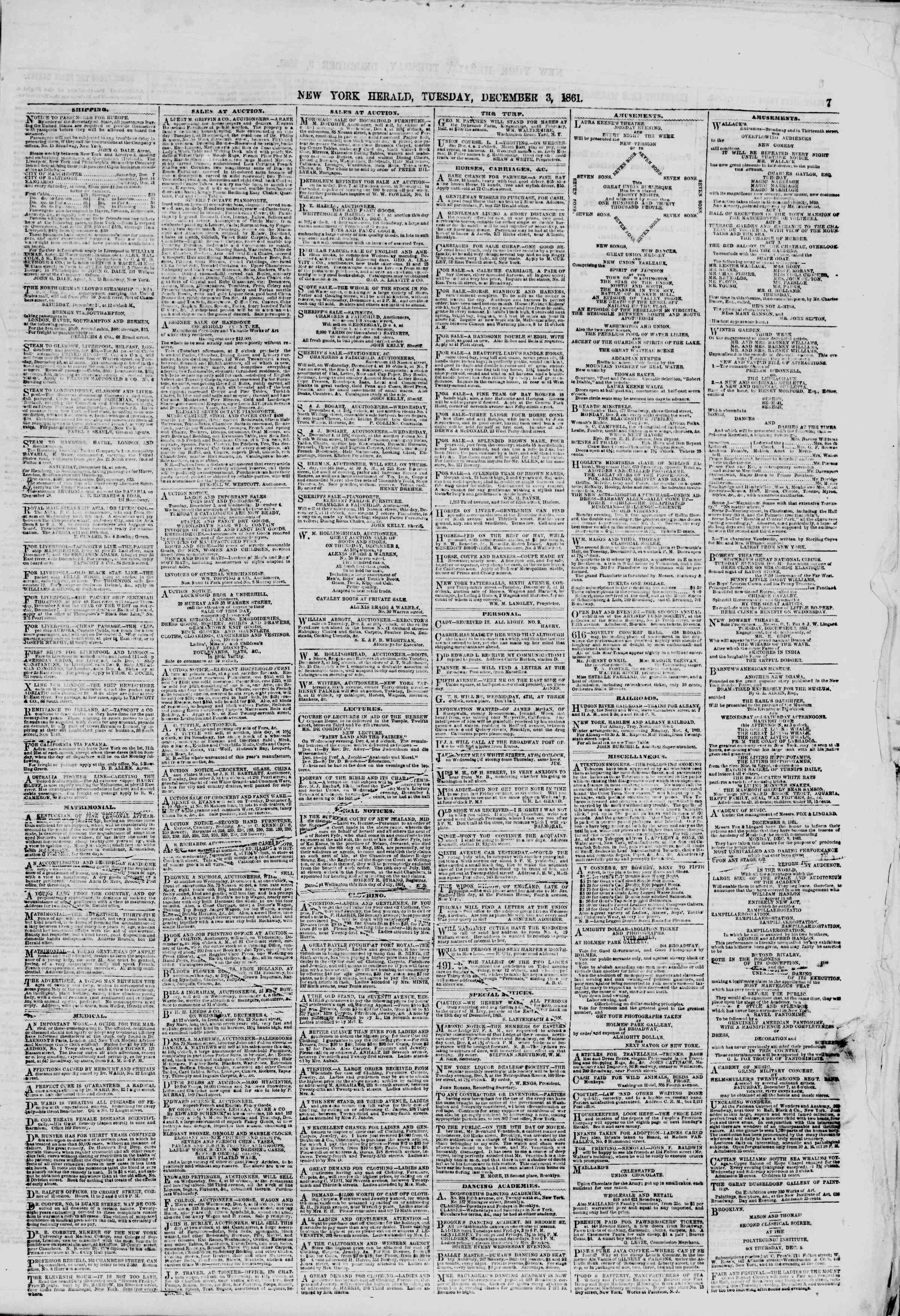 Newspaper of The New York Herald dated December 3, 1861 Page 7