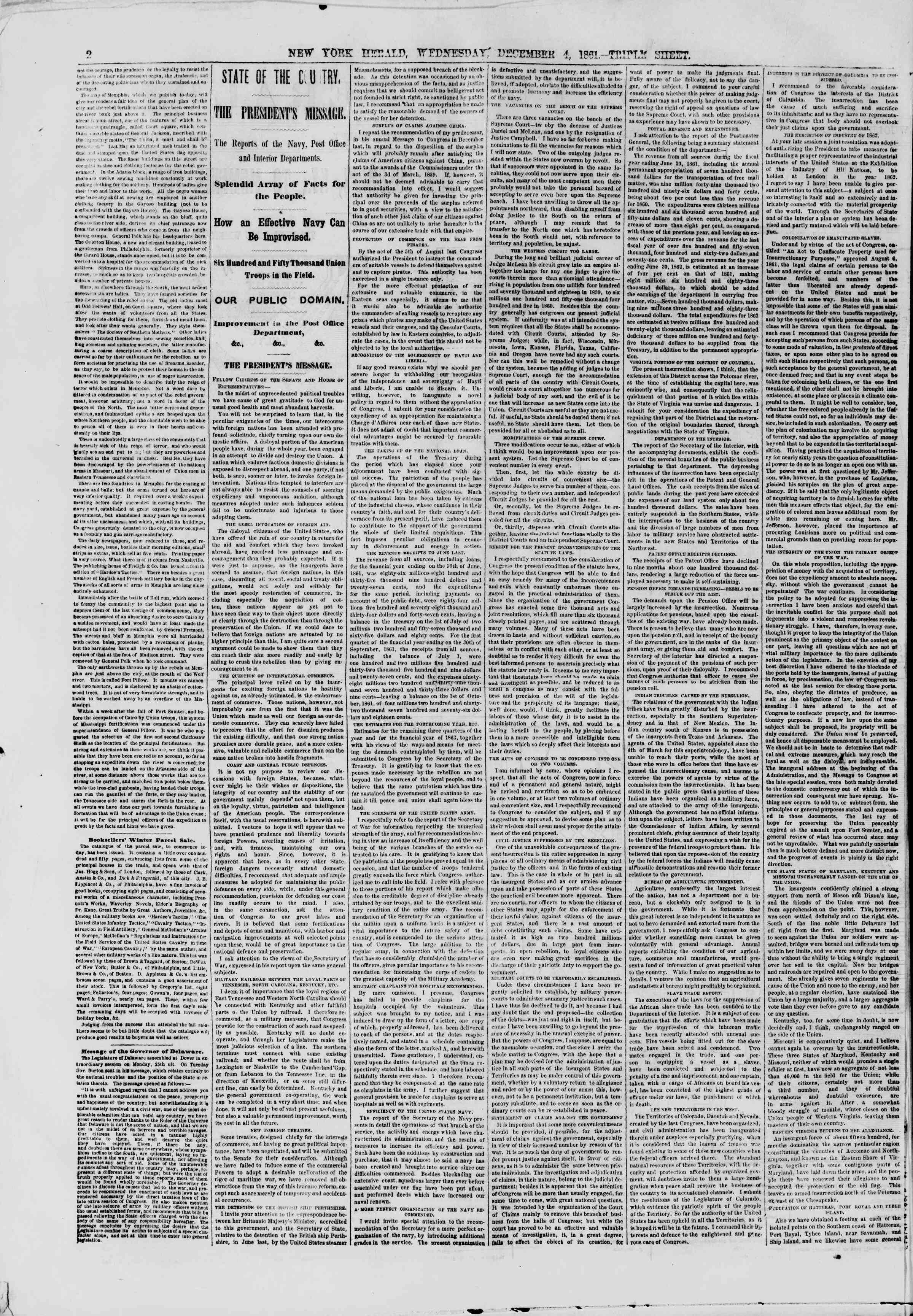 Newspaper of The New York Herald dated December 4, 1861 Page 2