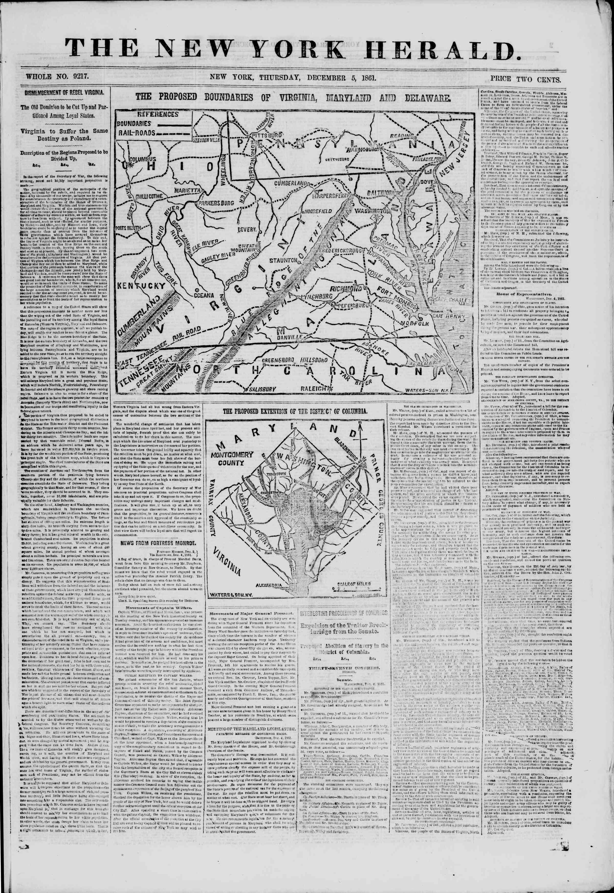 Newspaper of The New York Herald dated December 5, 1861 Page 1