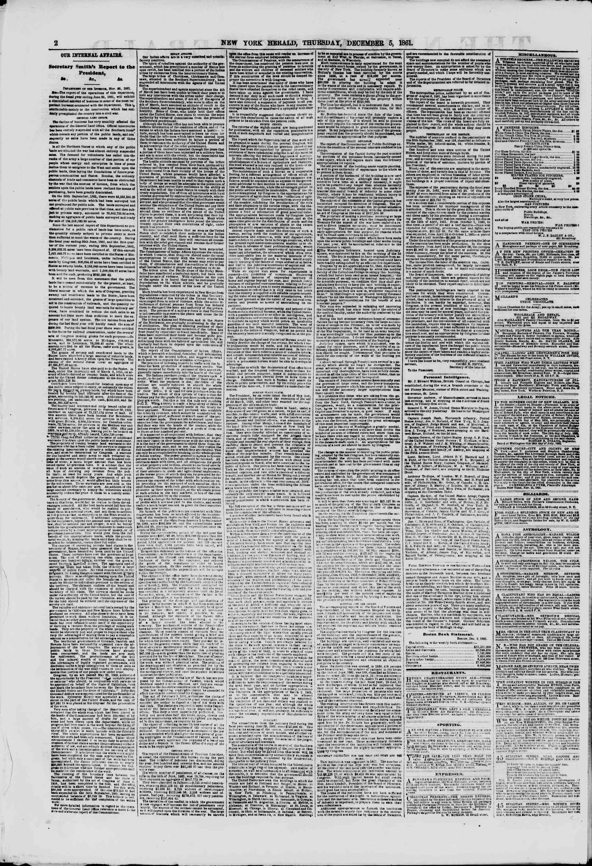 Newspaper of The New York Herald dated December 5, 1861 Page 2