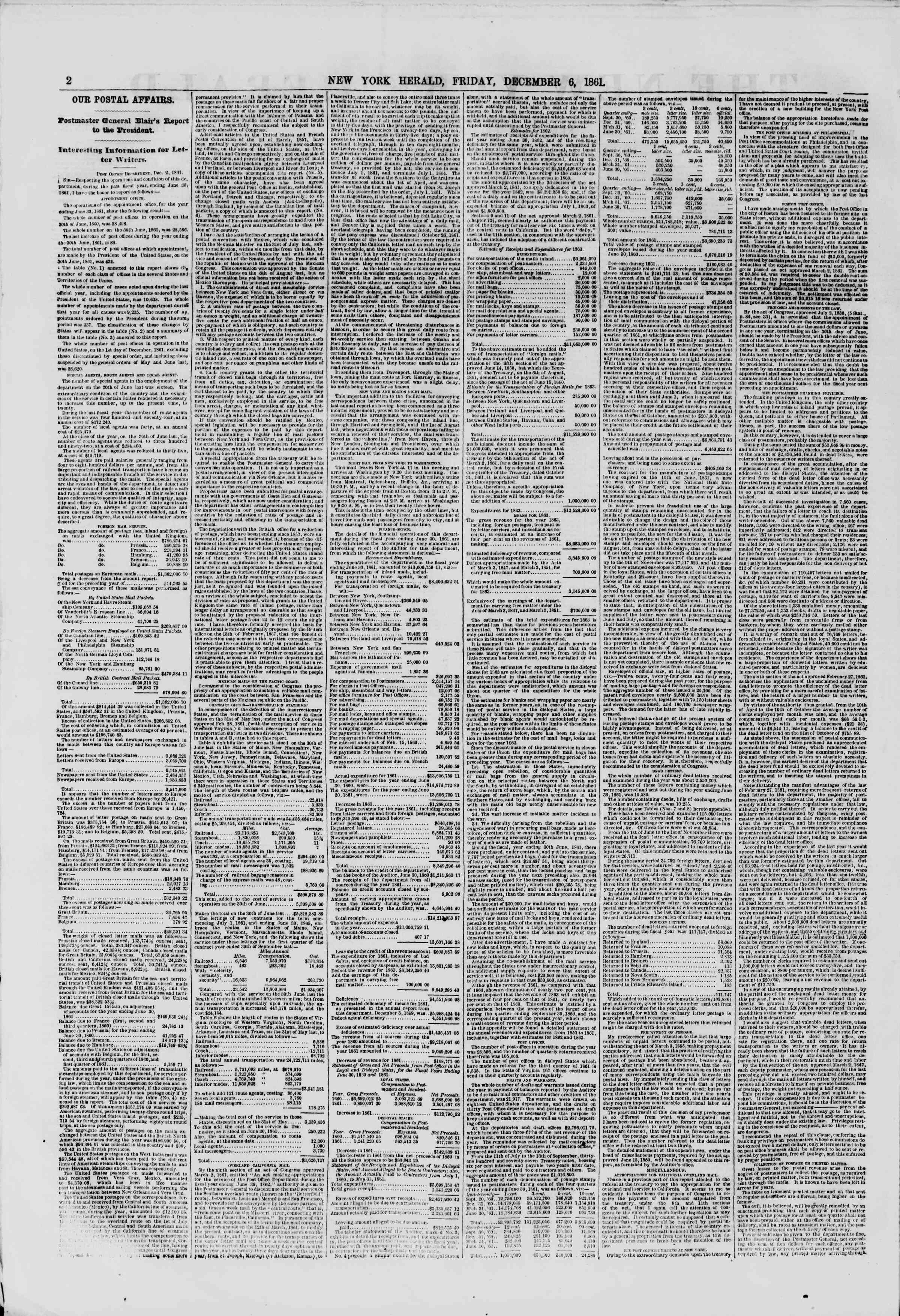 Newspaper of The New York Herald dated December 6, 1861 Page 2
