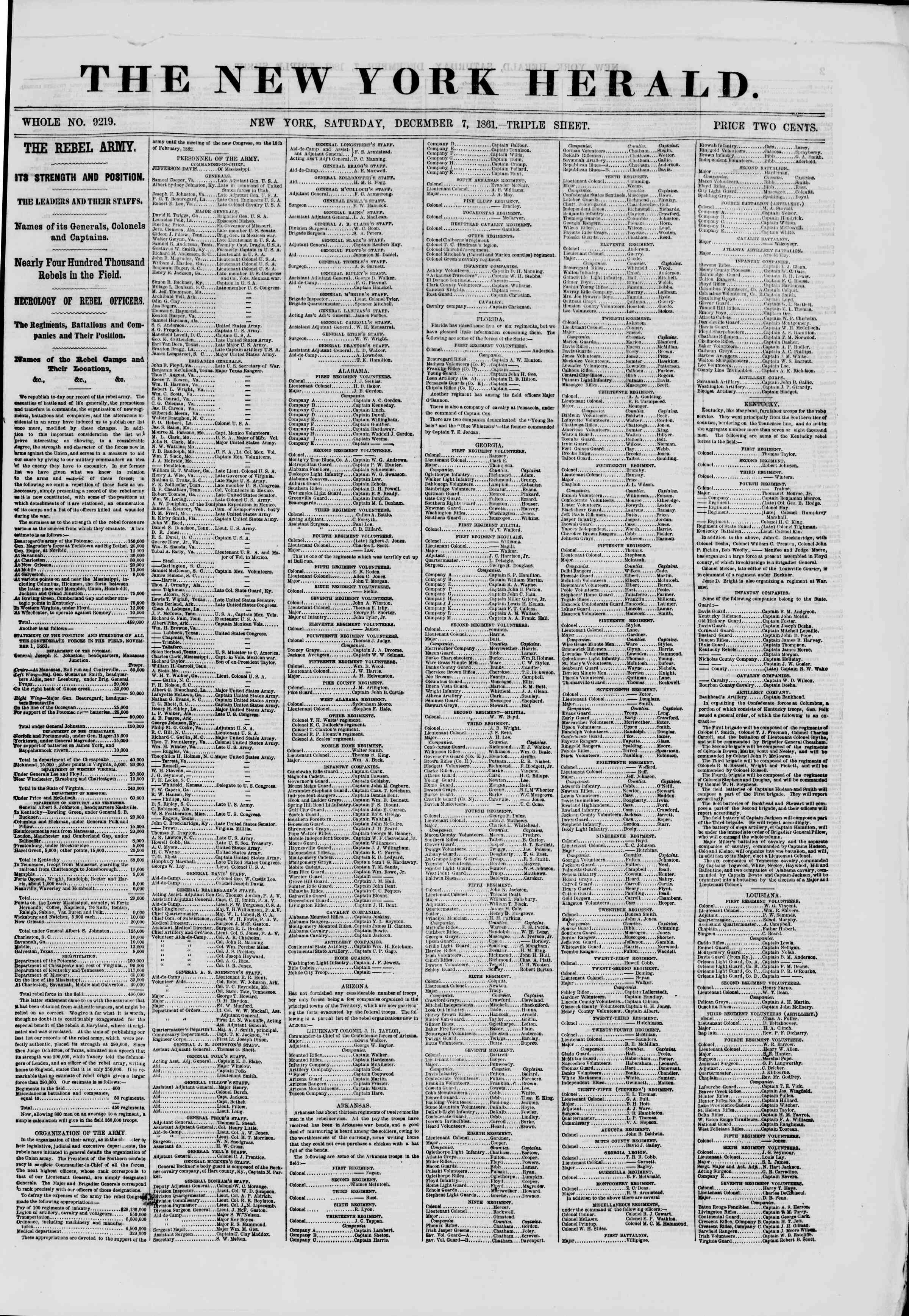 Newspaper of The New York Herald dated December 7, 1861 Page 1