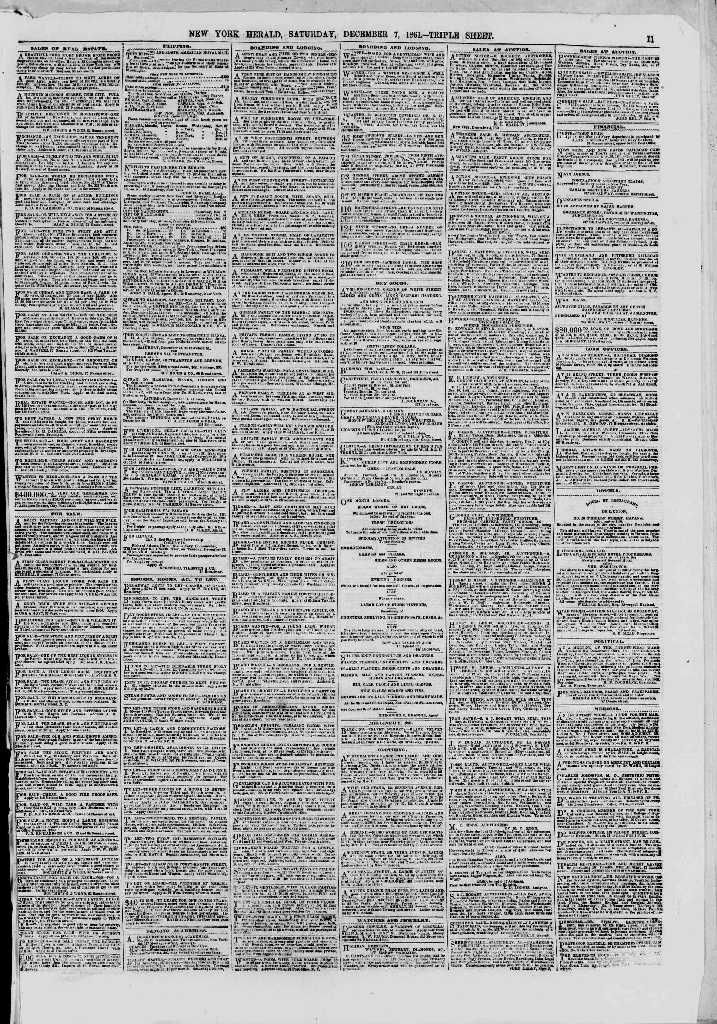 Newspaper of The New York Herald dated December 7, 1861 Page 11