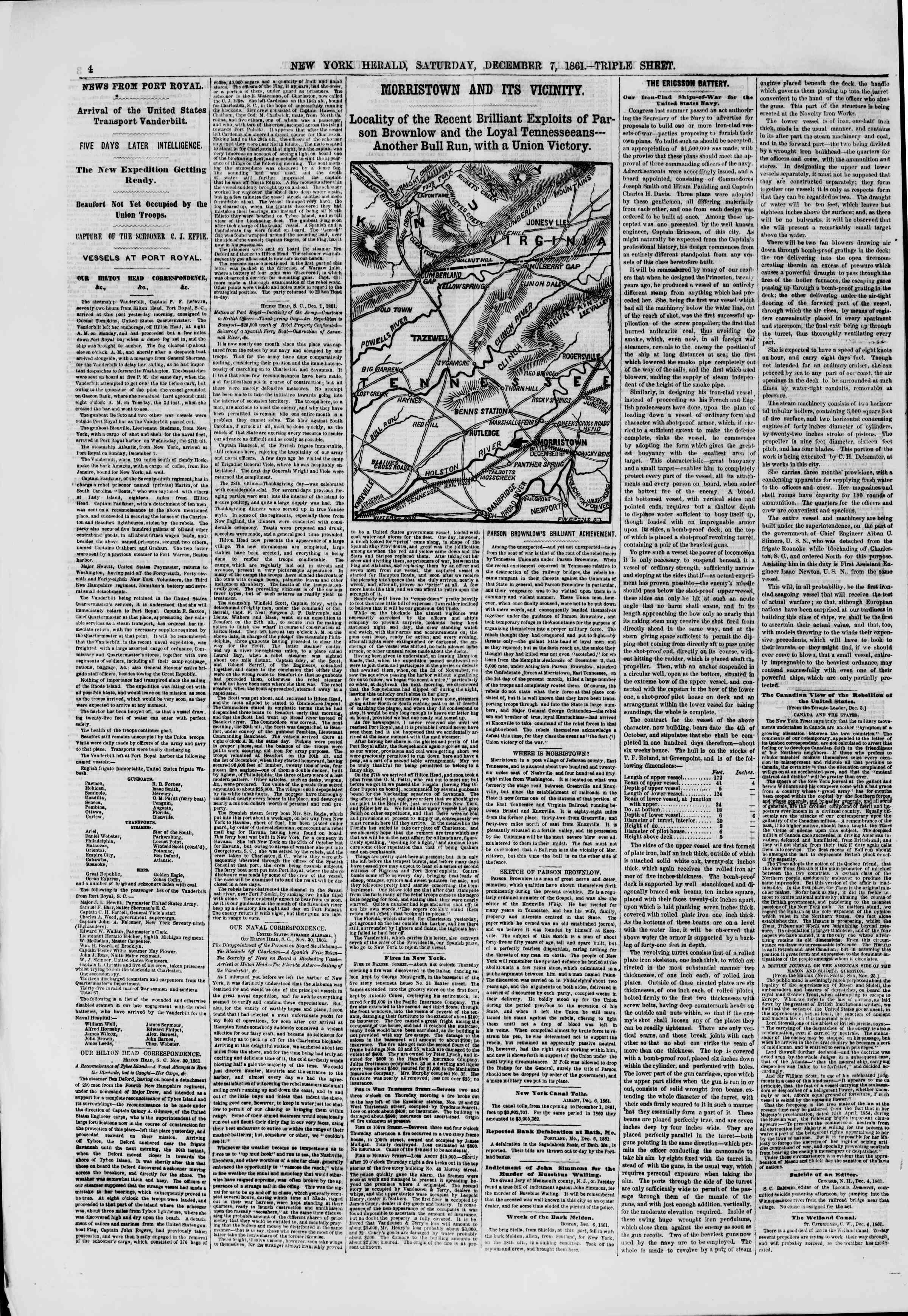 Newspaper of The New York Herald dated December 7, 1861 Page 4
