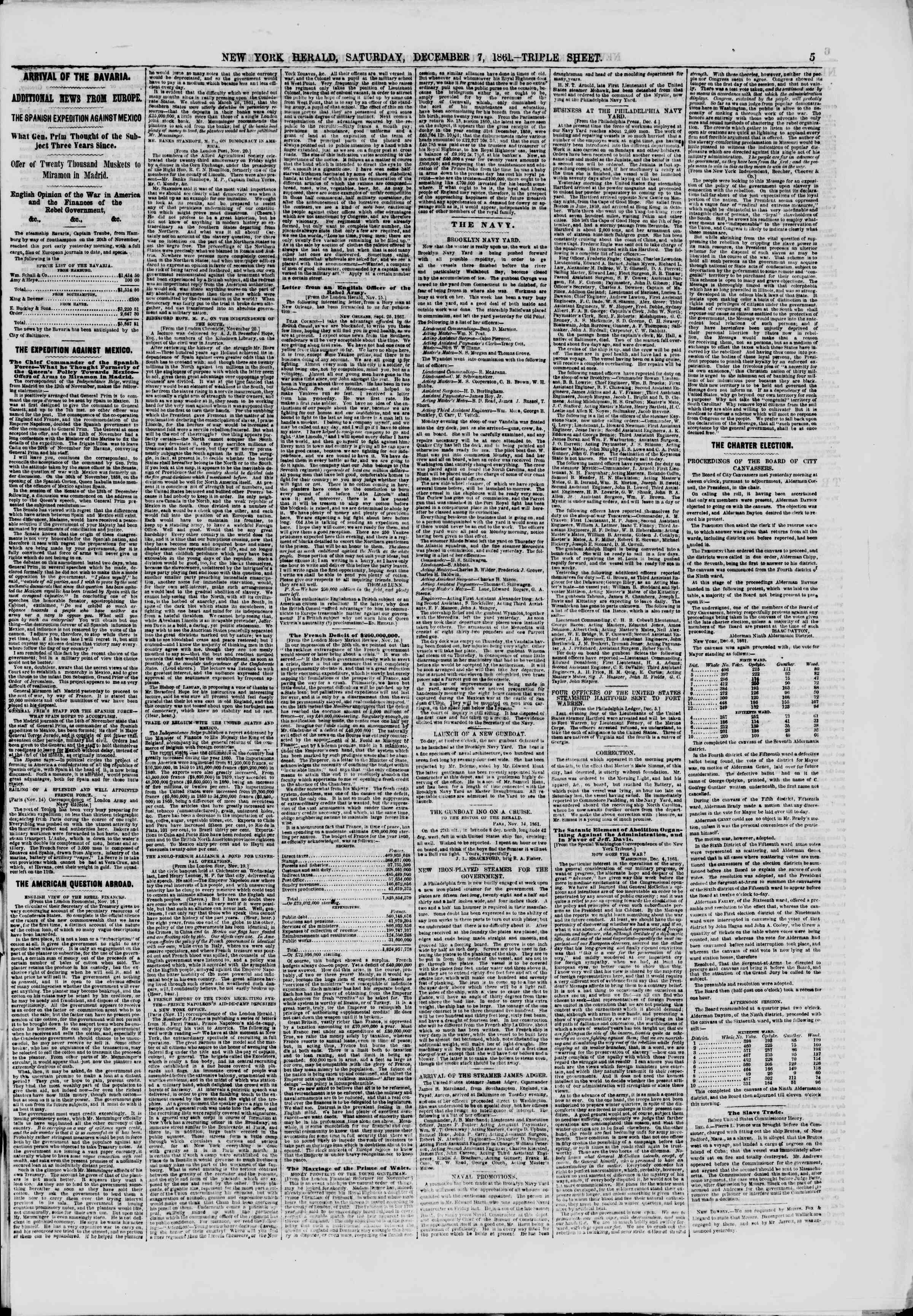 Newspaper of The New York Herald dated December 7, 1861 Page 5