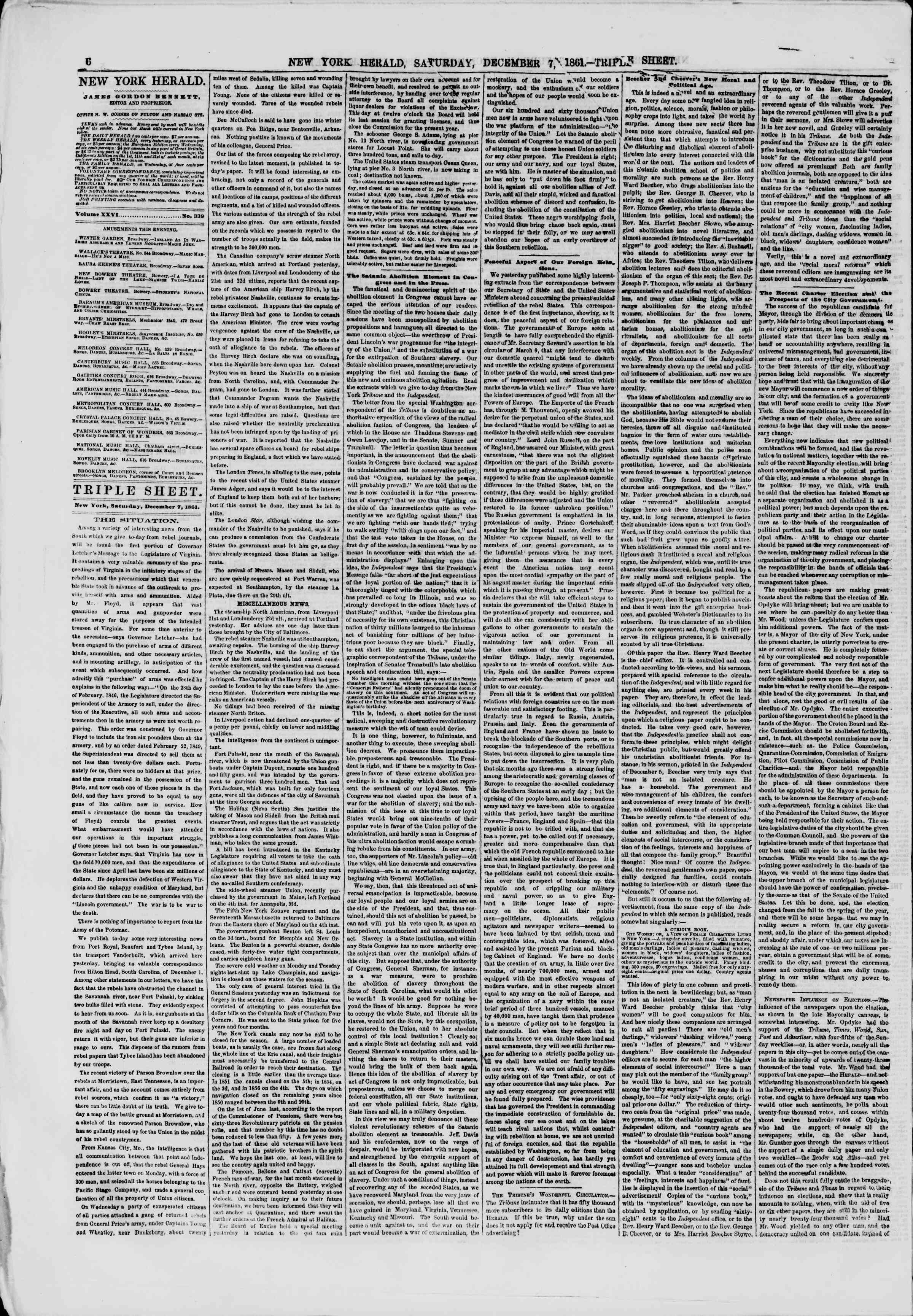 Newspaper of The New York Herald dated December 7, 1861 Page 6