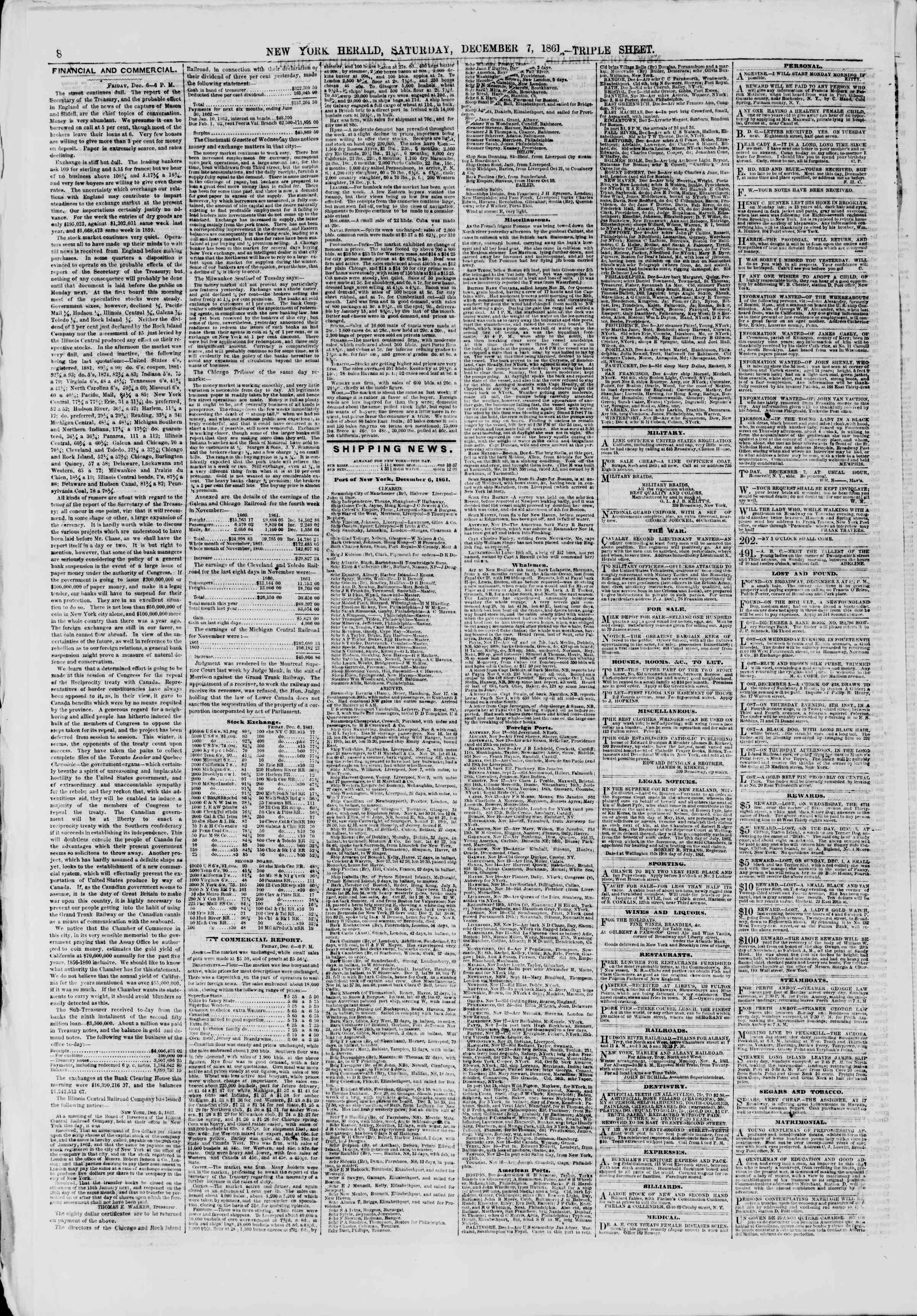 Newspaper of The New York Herald dated December 7, 1861 Page 8
