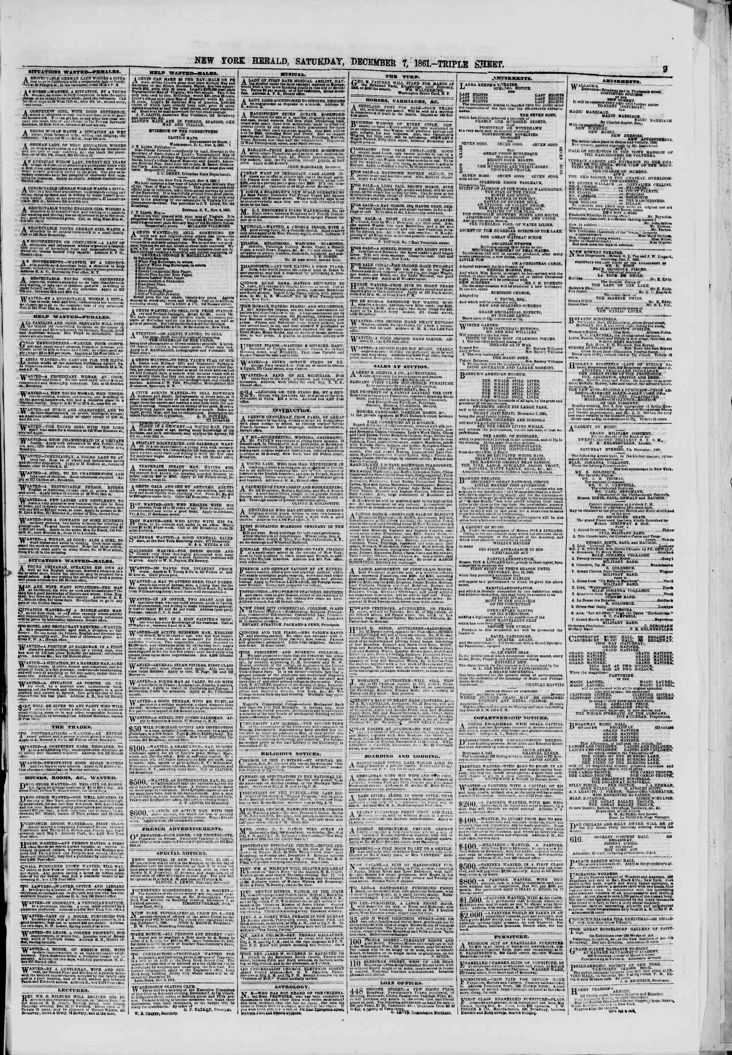 Newspaper of The New York Herald dated December 7, 1861 Page 9