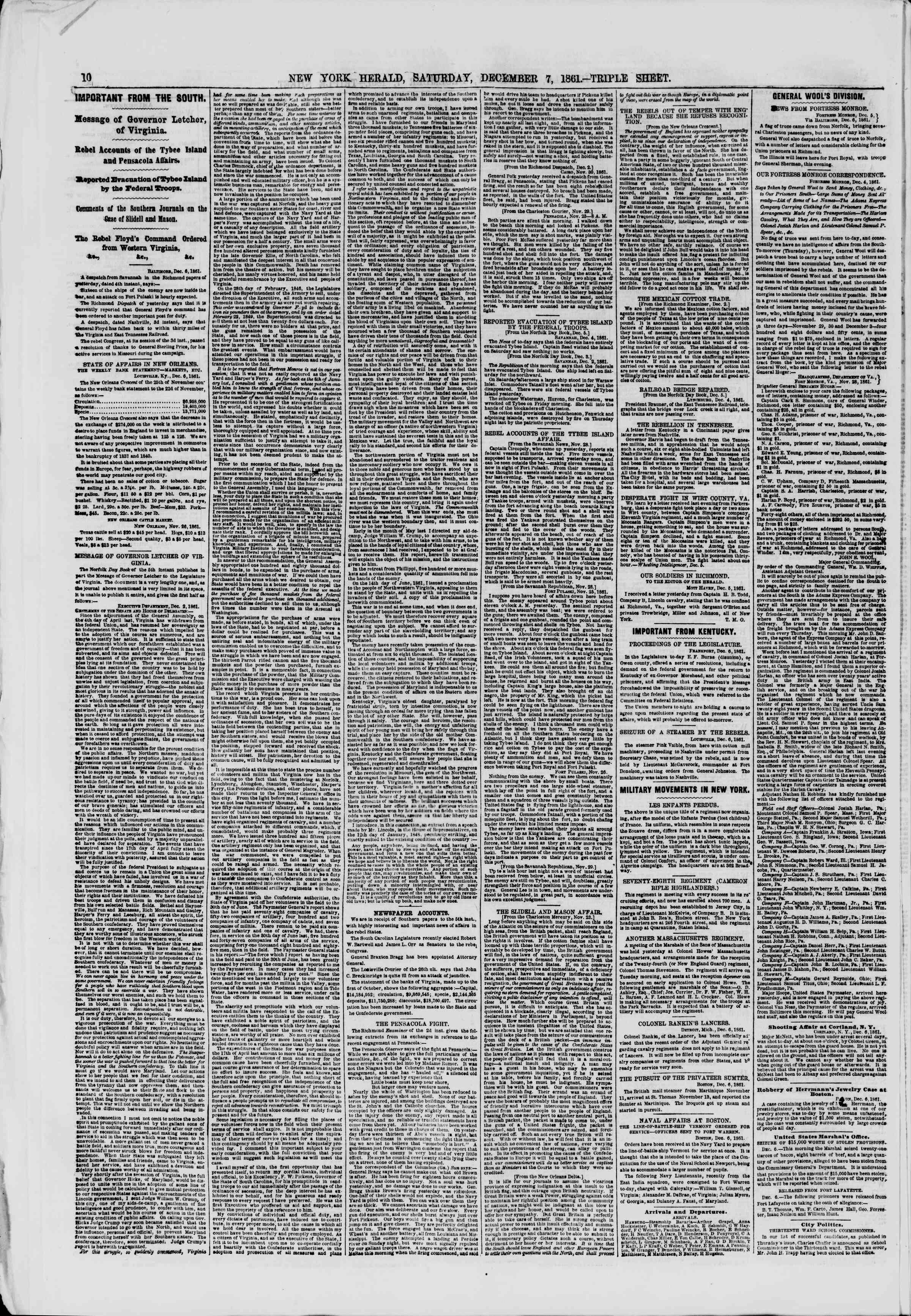 Newspaper of The New York Herald dated December 7, 1861 Page 10