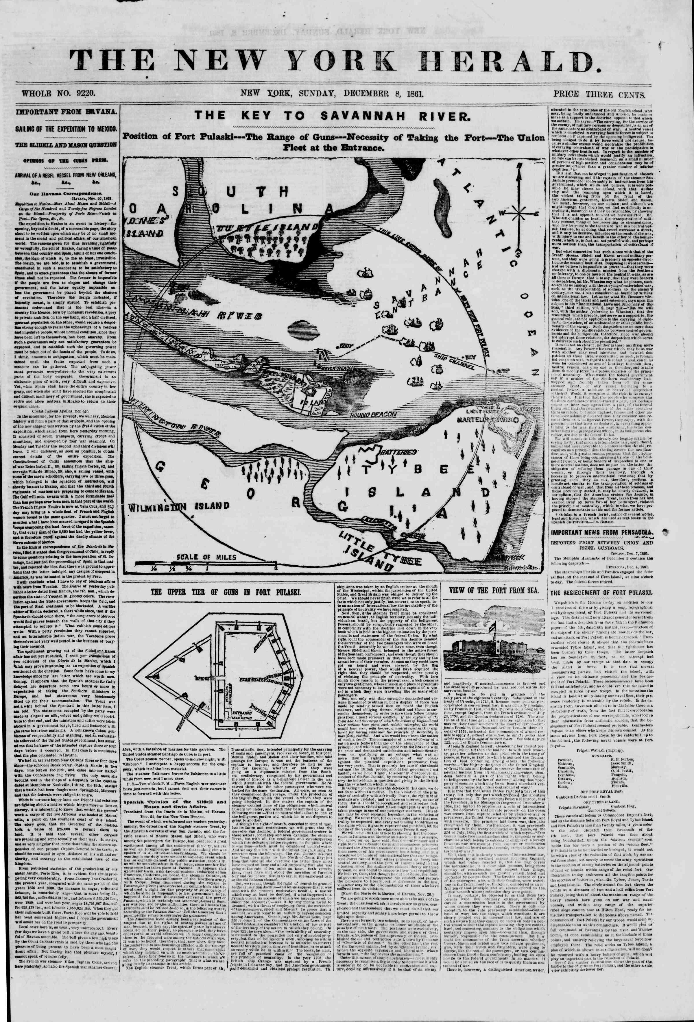 8 Aralık 1861 tarihli The New York Herald Gazetesi Sayfa 1