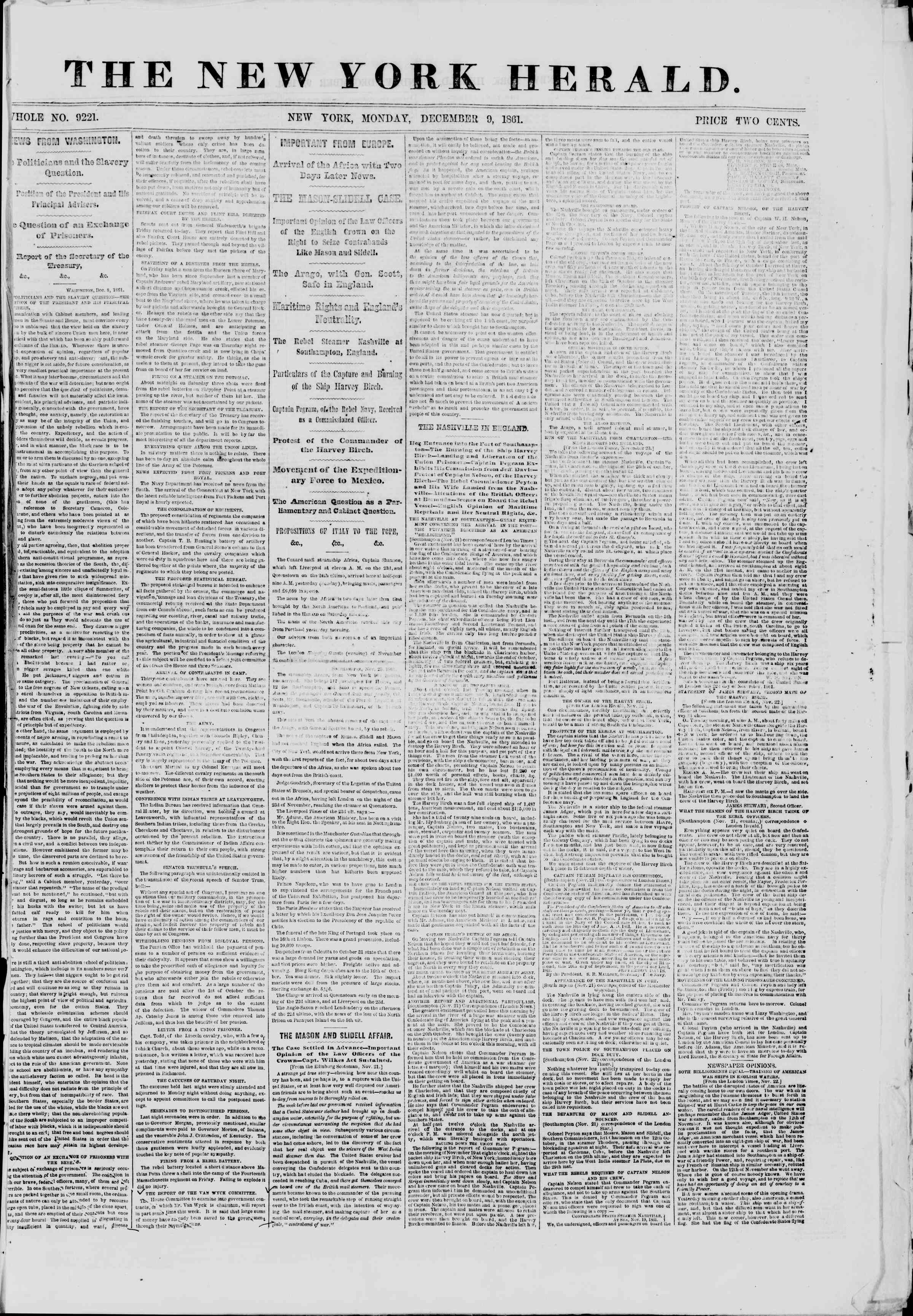 Newspaper of The New York Herald dated December 9, 1861 Page 1
