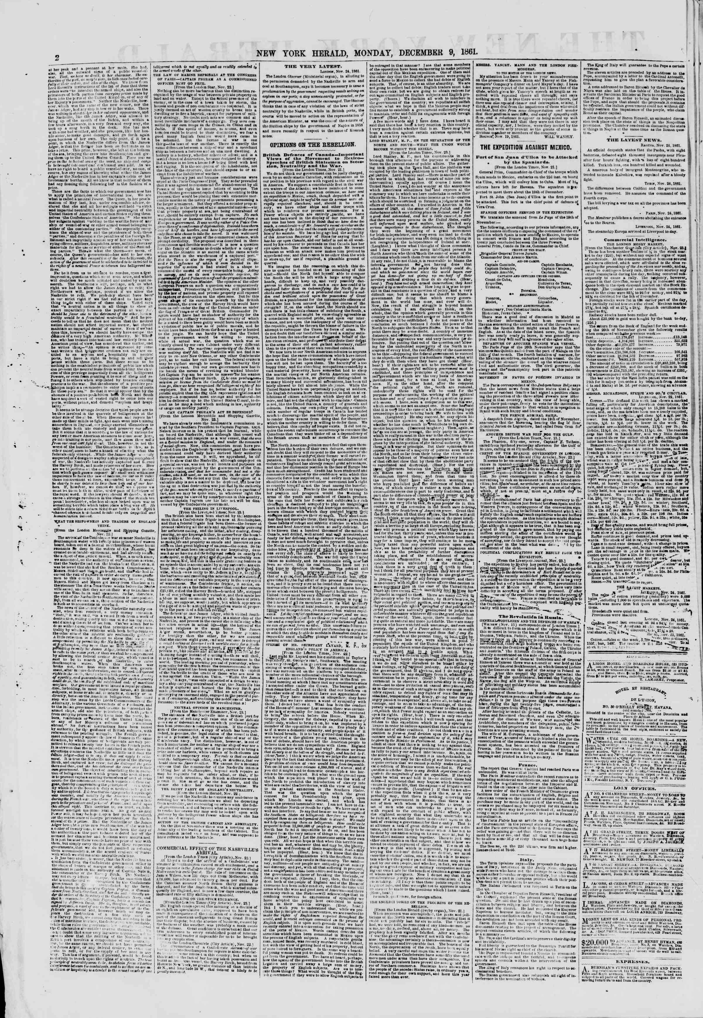 Newspaper of The New York Herald dated December 9, 1861 Page 2