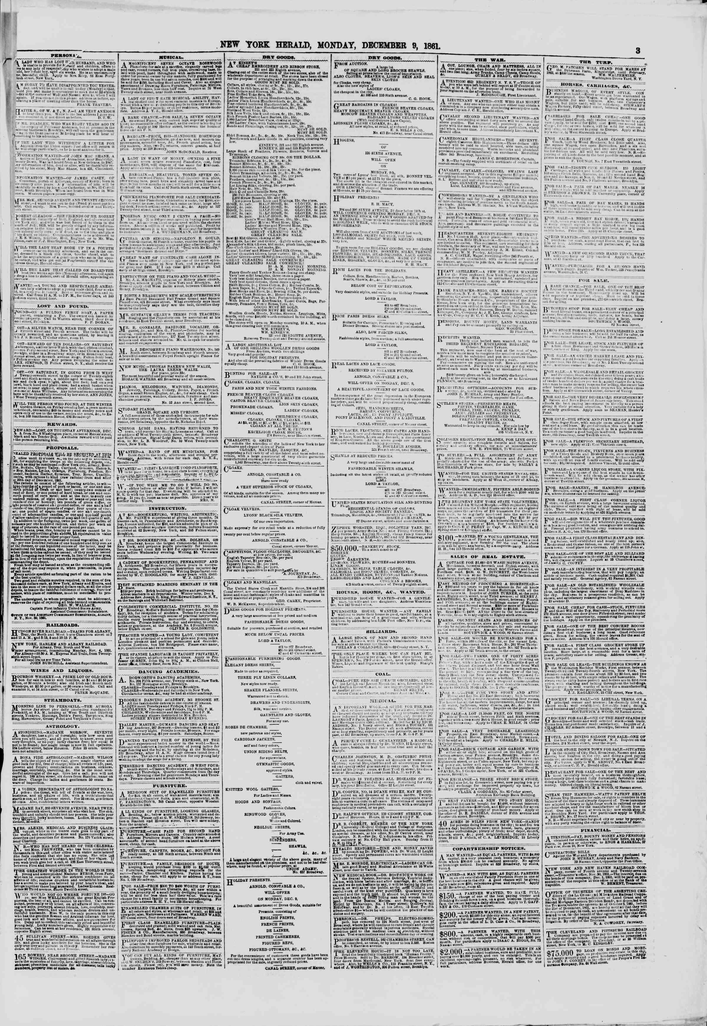 Newspaper of The New York Herald dated December 9, 1861 Page 3