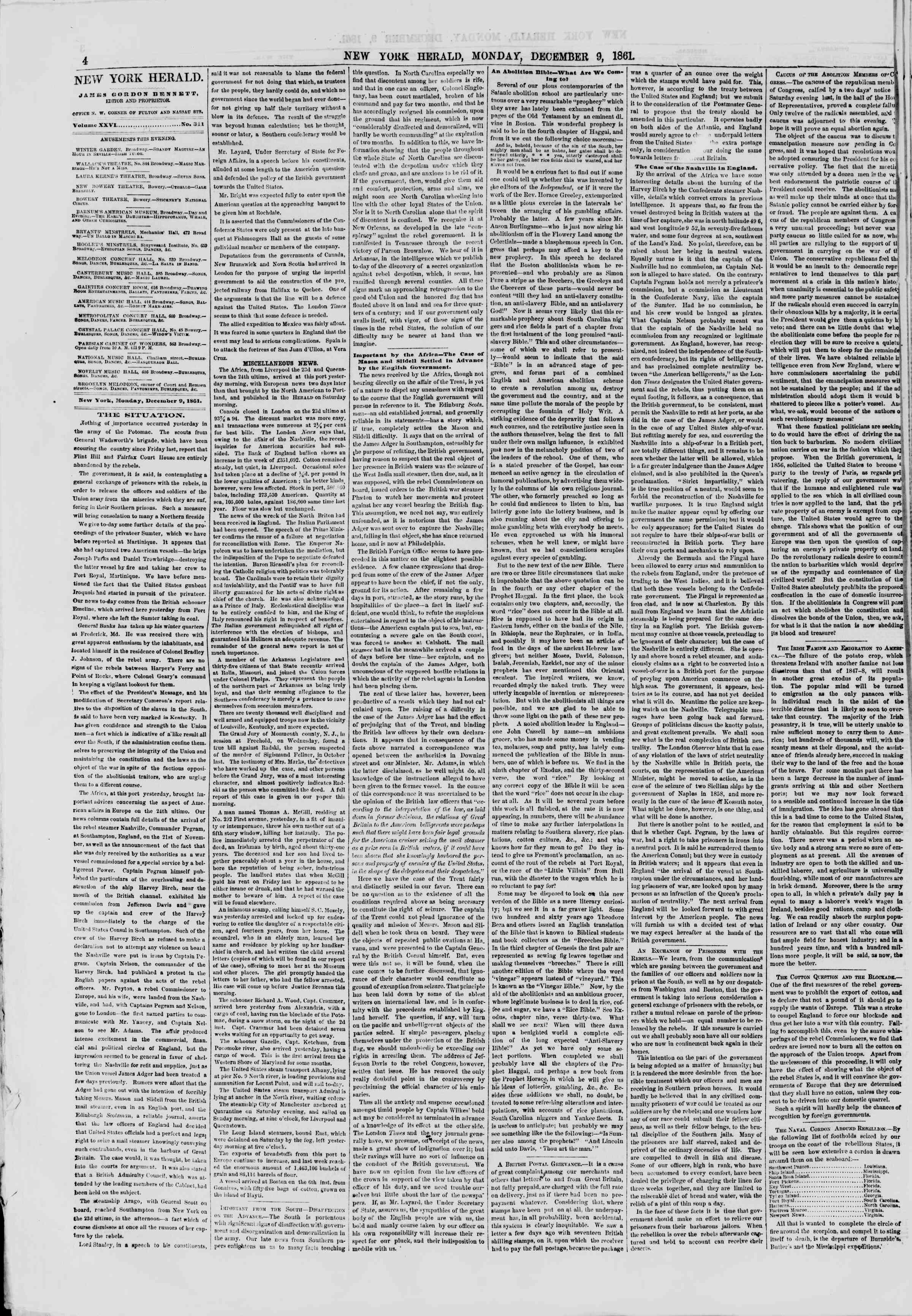 Newspaper of The New York Herald dated December 9, 1861 Page 4