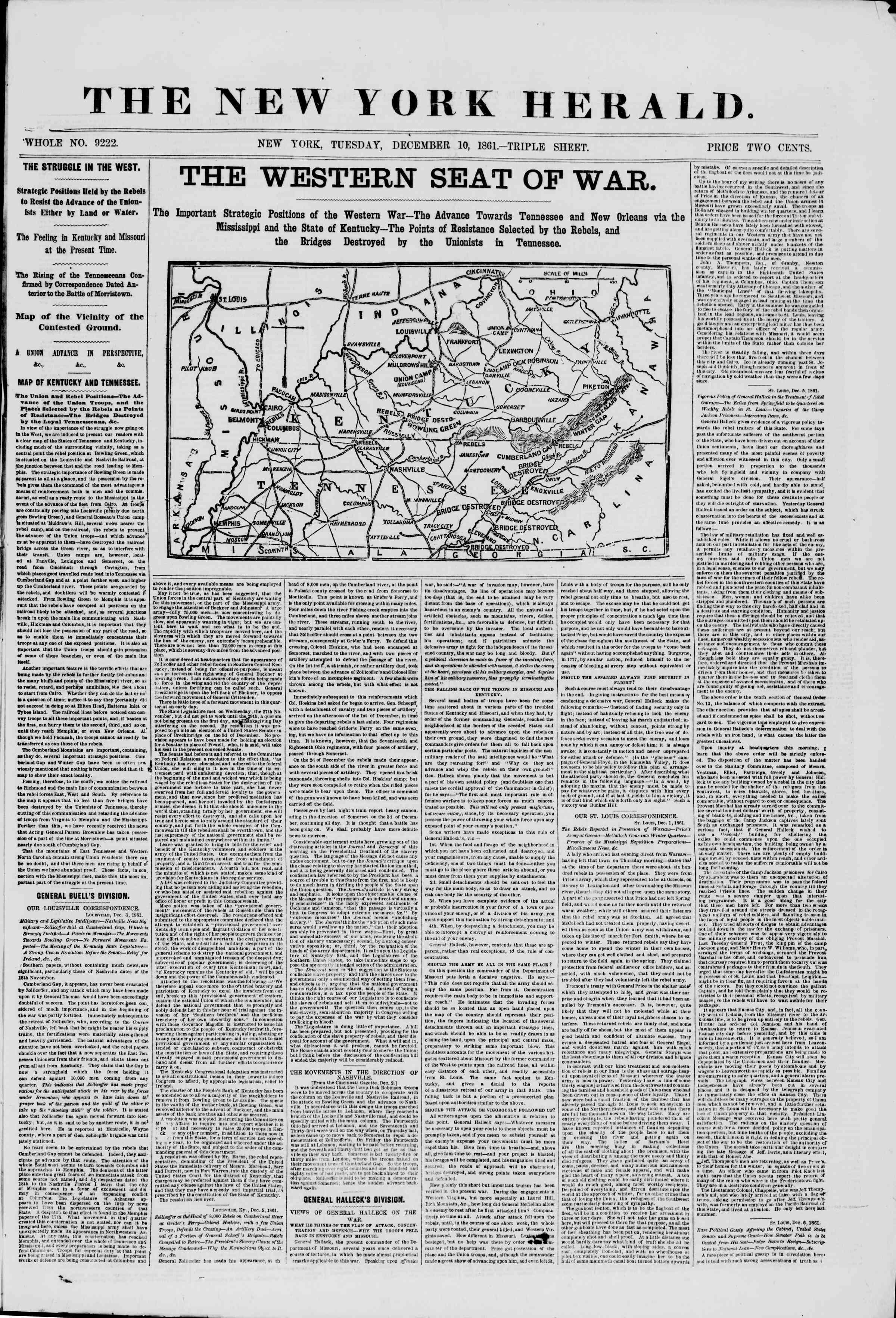 10 Aralık 1861 tarihli The New York Herald Gazetesi Sayfa 1