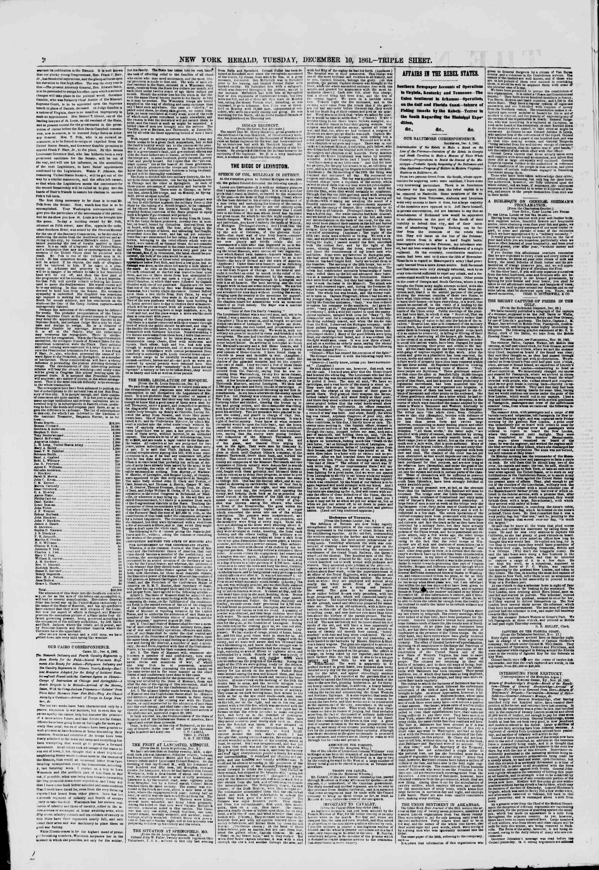 Newspaper of The New York Herald dated December 10, 1861 Page 2