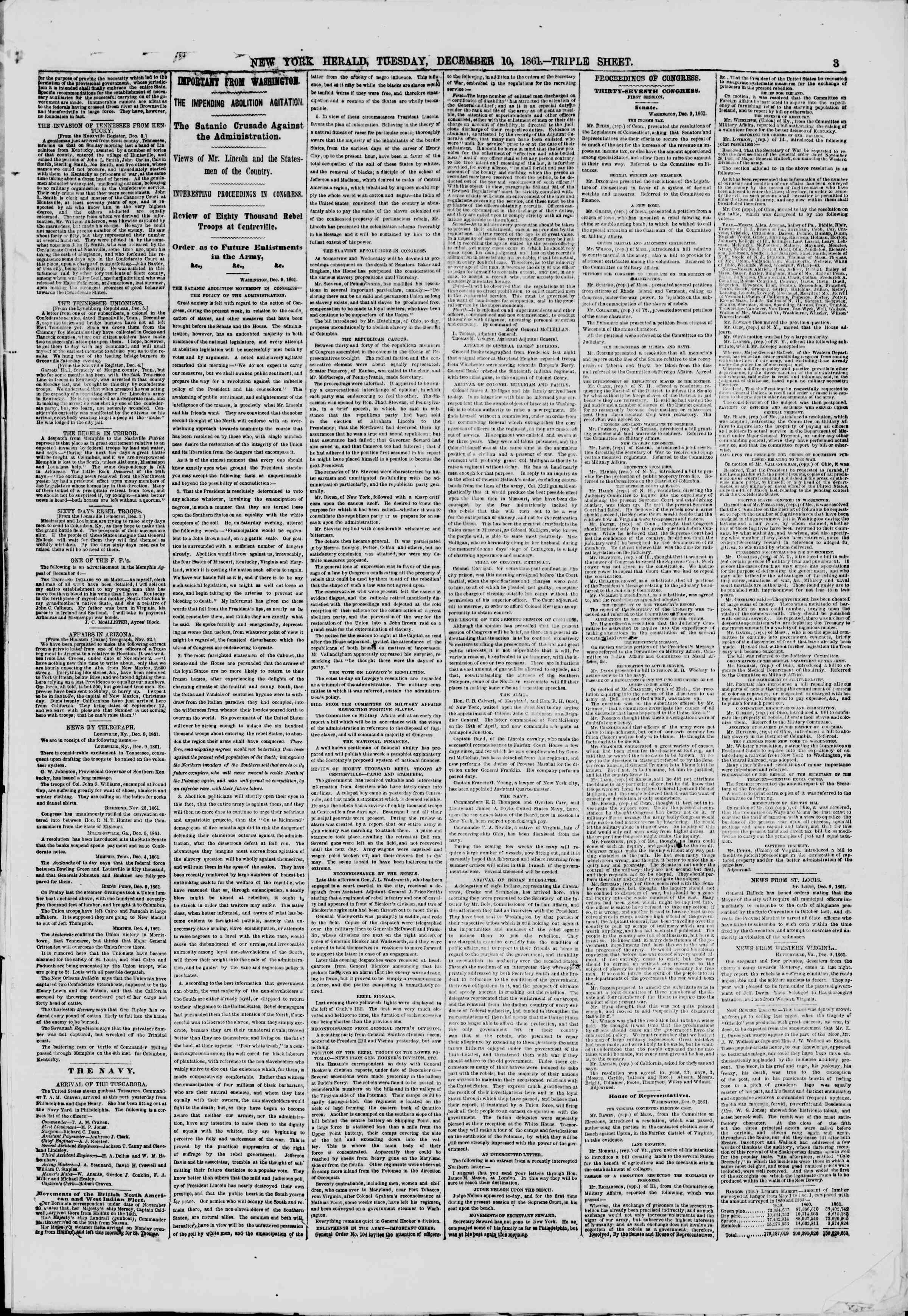 Newspaper of The New York Herald dated December 10, 1861 Page 3