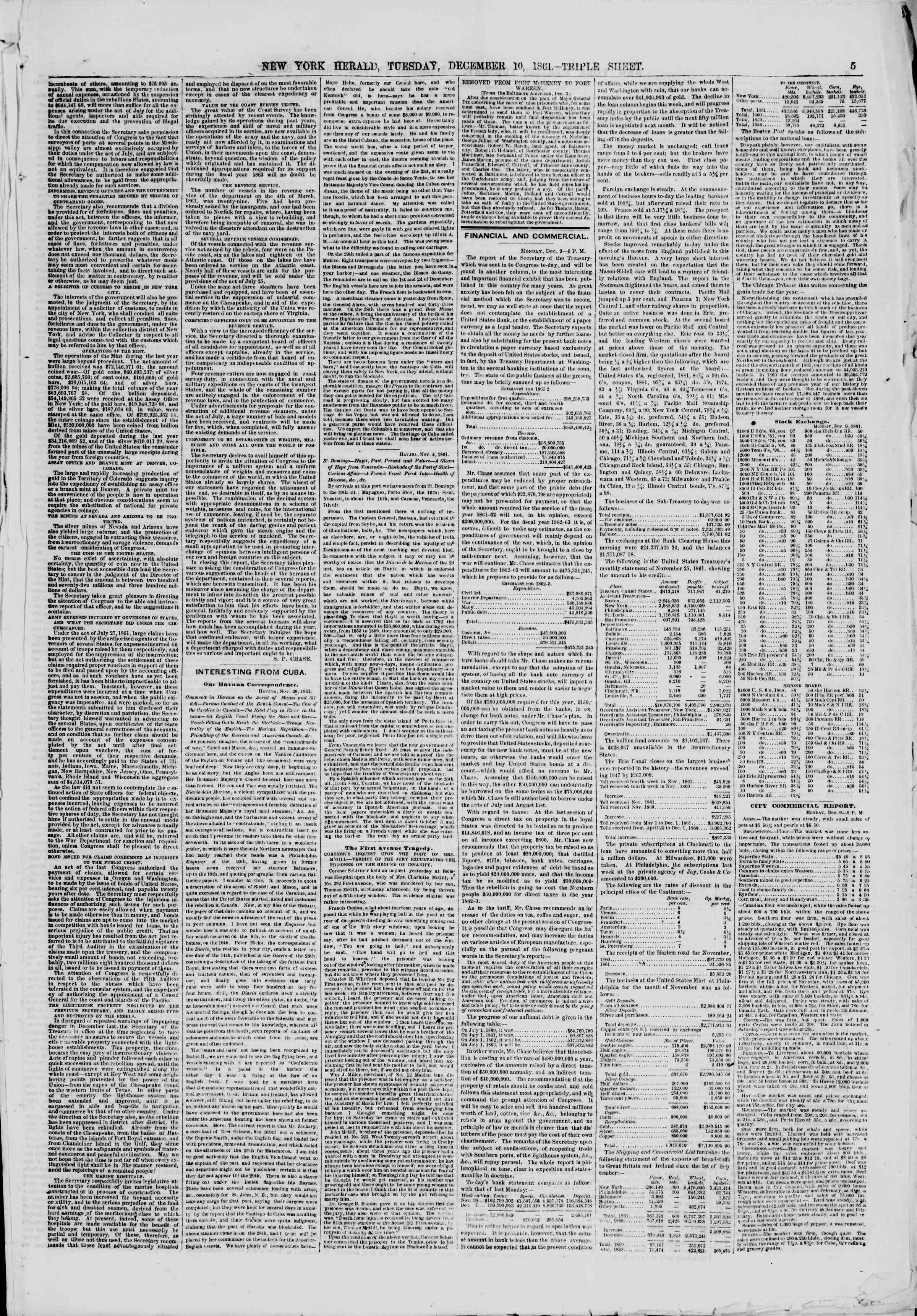 Newspaper of The New York Herald dated December 10, 1861 Page 5