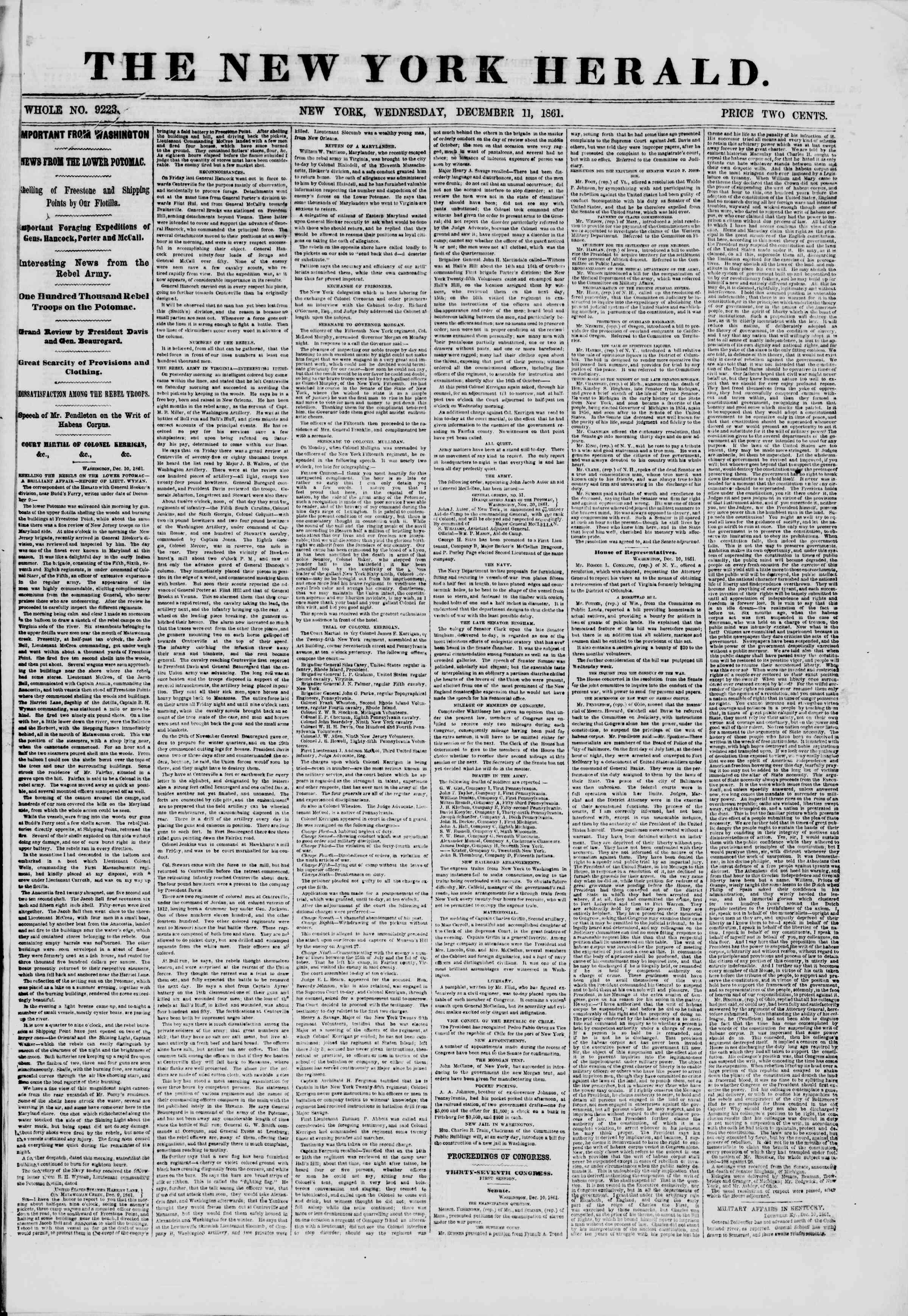 11 Aralık 1861 tarihli The New York Herald Gazetesi Sayfa 1