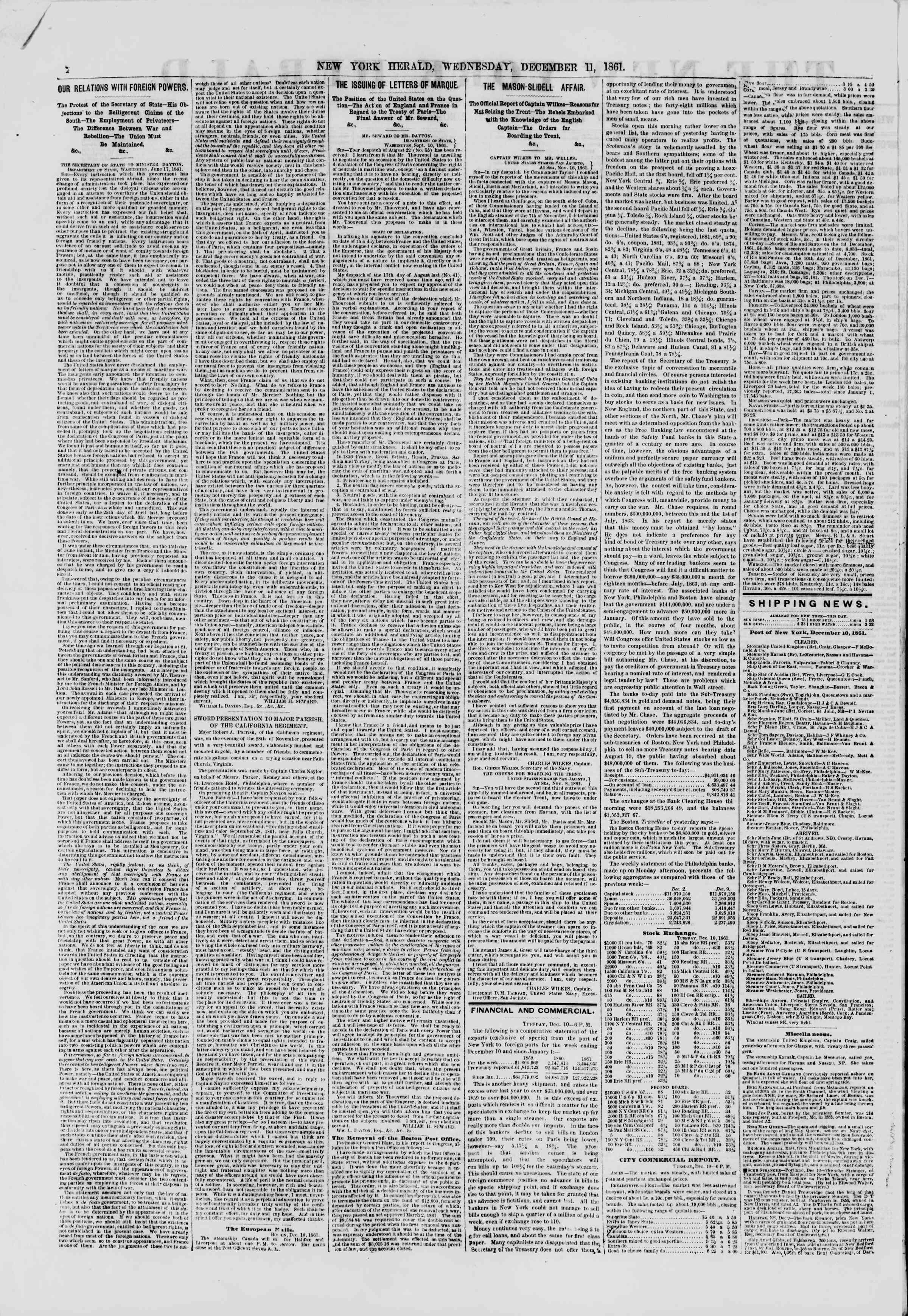 11 Aralık 1861 tarihli The New York Herald Gazetesi Sayfa 2