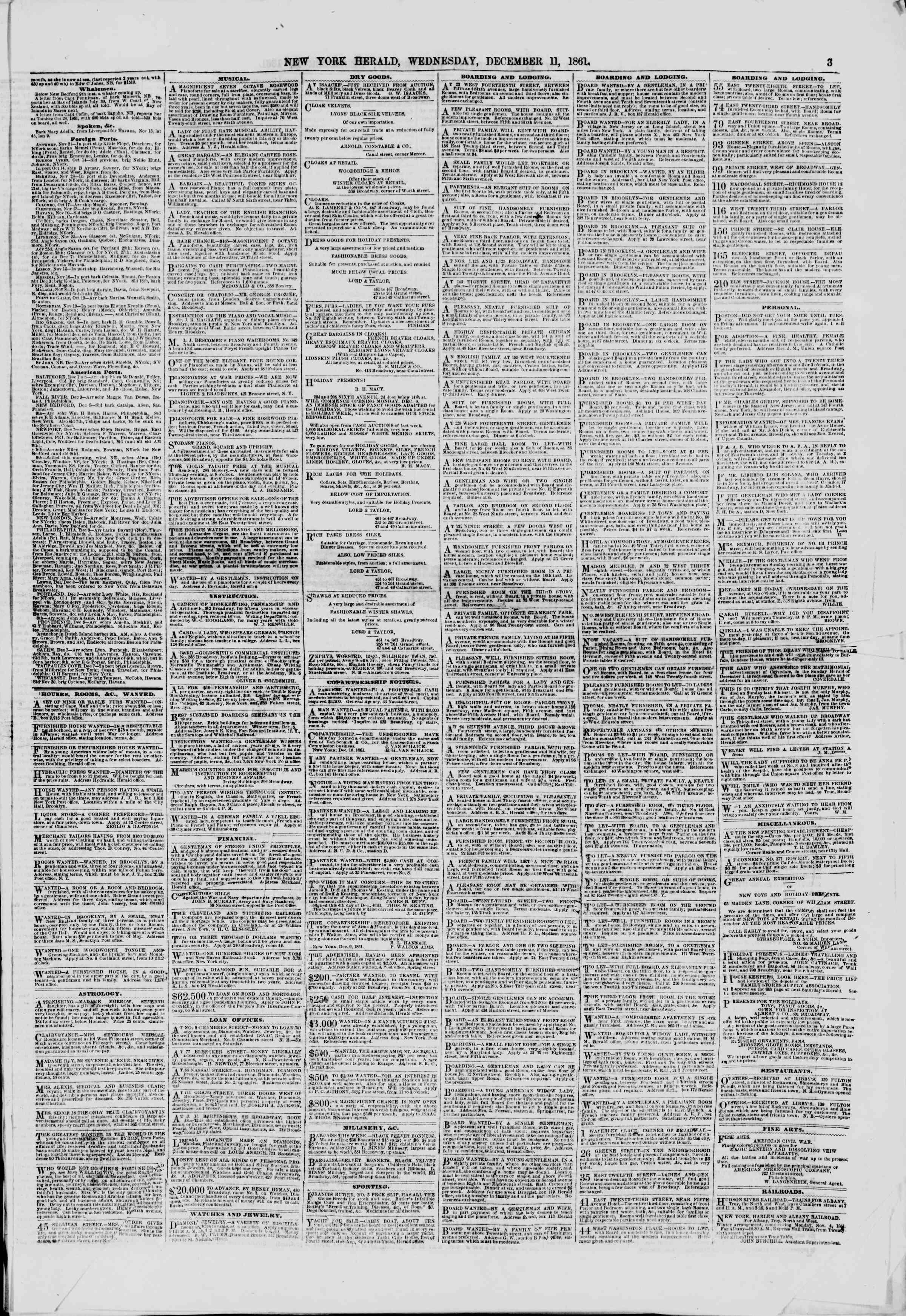 11 Aralık 1861 tarihli The New York Herald Gazetesi Sayfa 3