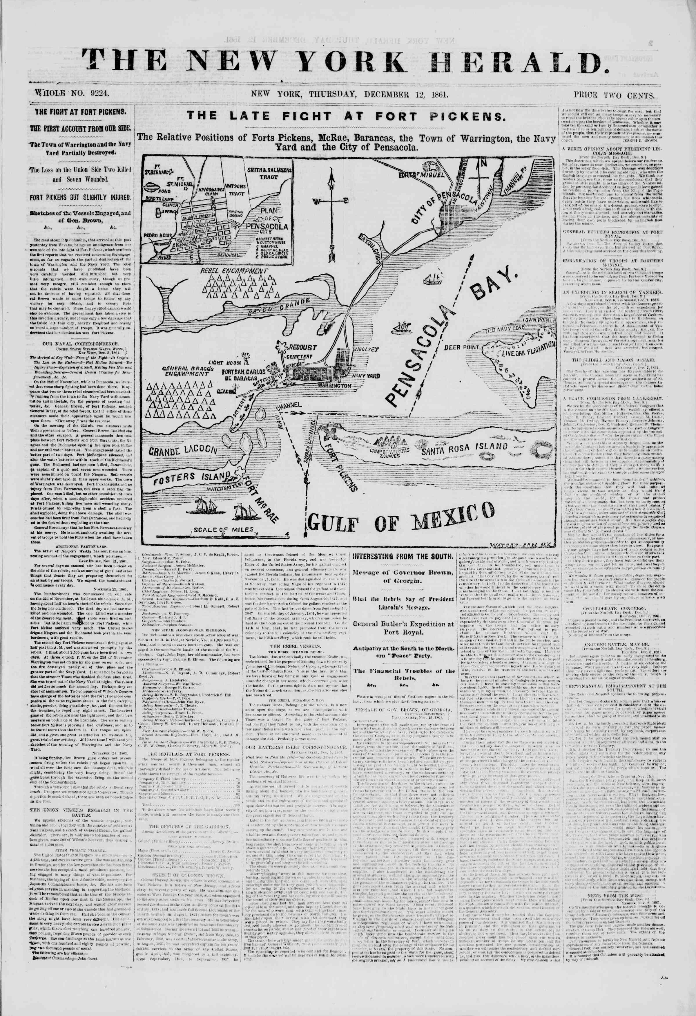 12 Aralık 1861 tarihli The New York Herald Gazetesi Sayfa 1