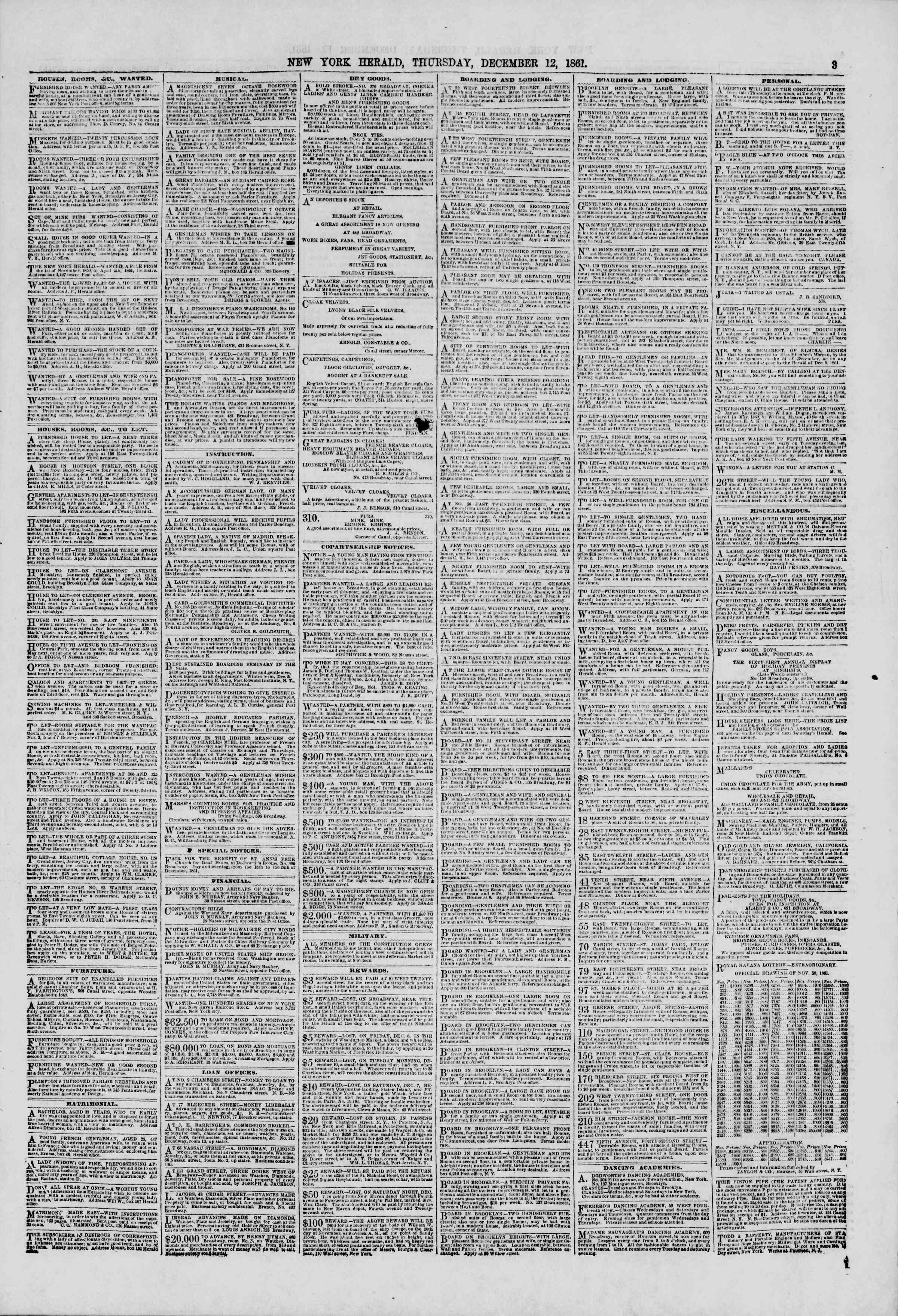 Newspaper of The New York Herald dated December 12, 1861 Page 3
