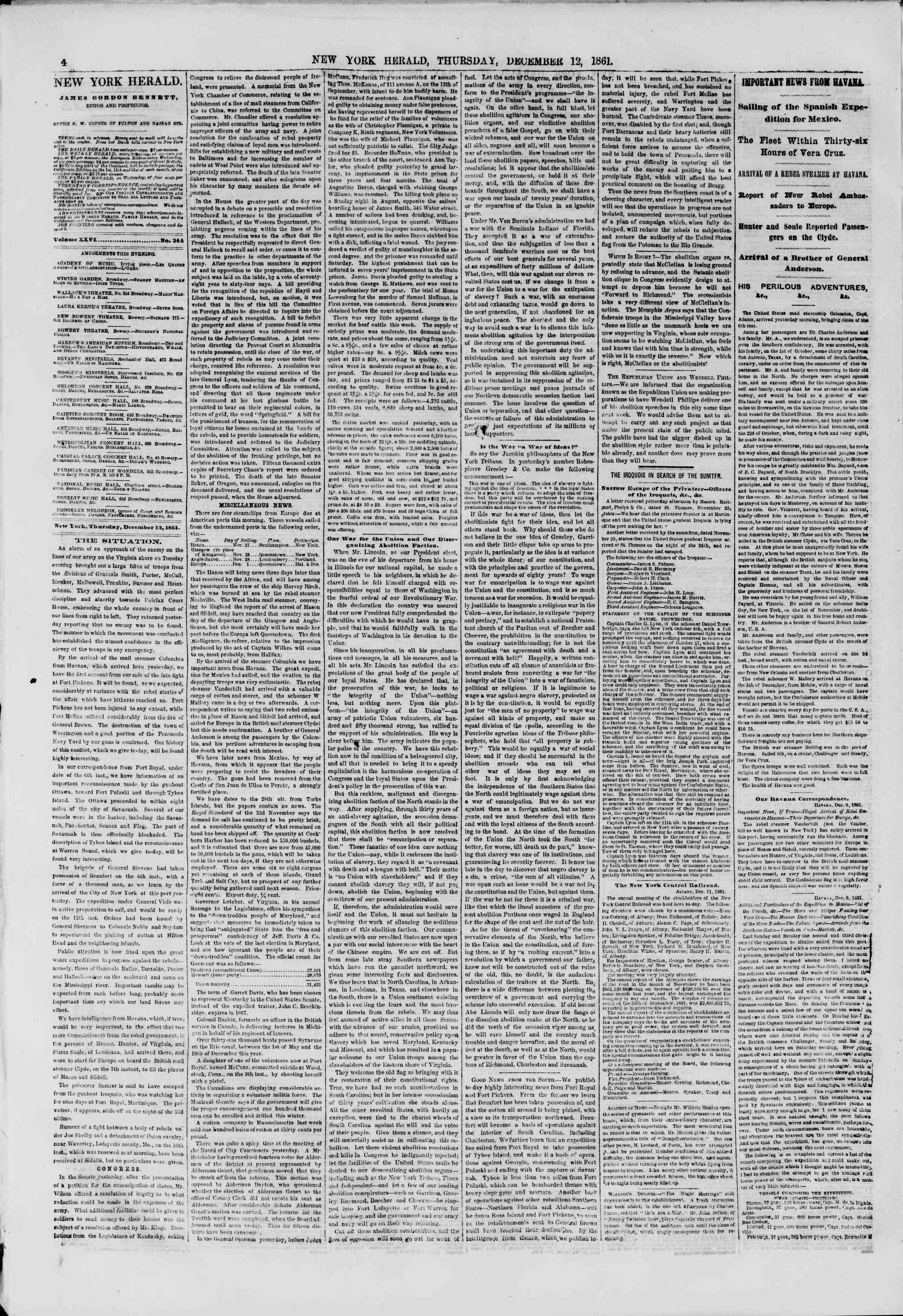 Newspaper of The New York Herald dated December 12, 1861 Page 4