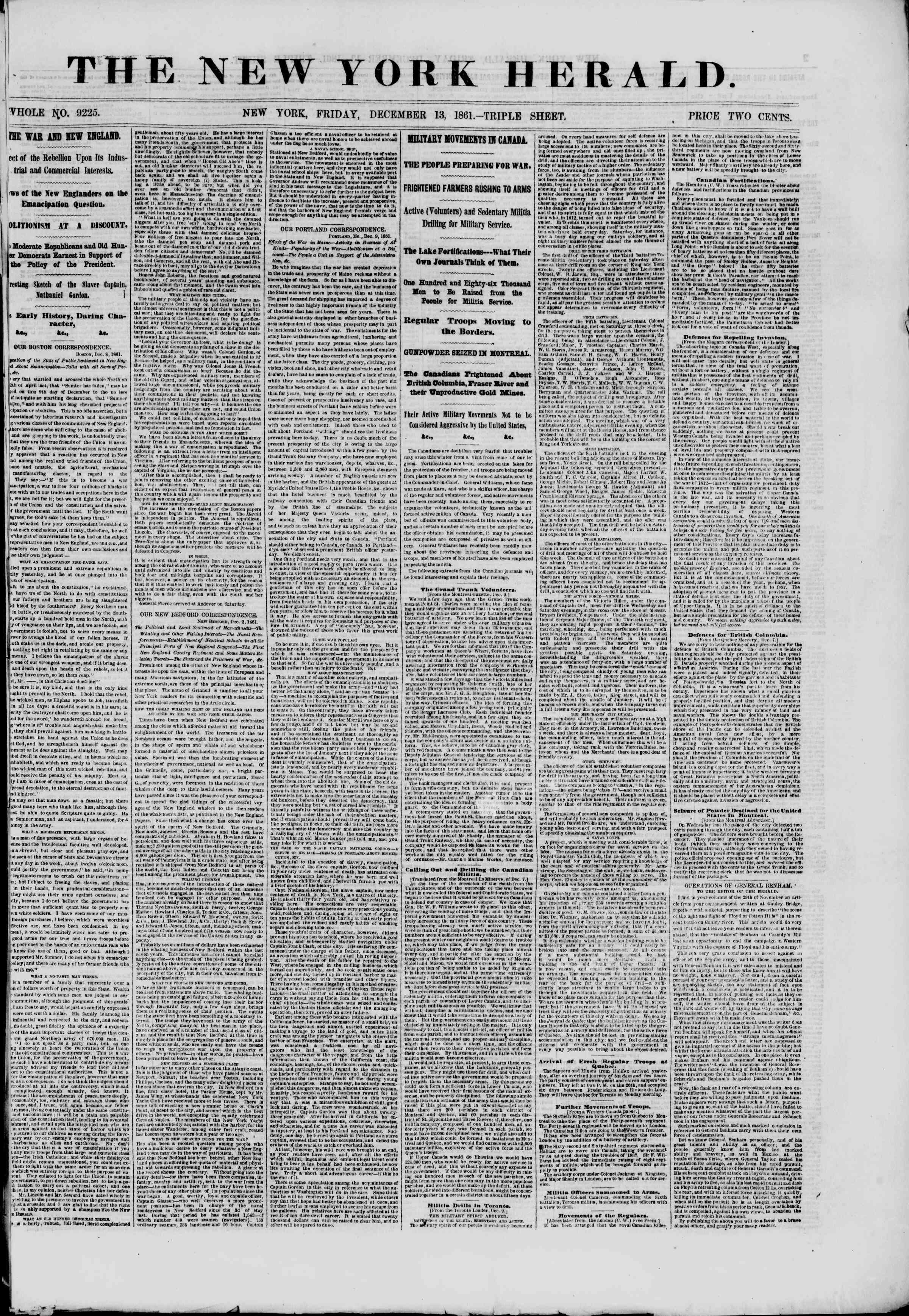 Newspaper of The New York Herald dated December 13, 1861 Page 1