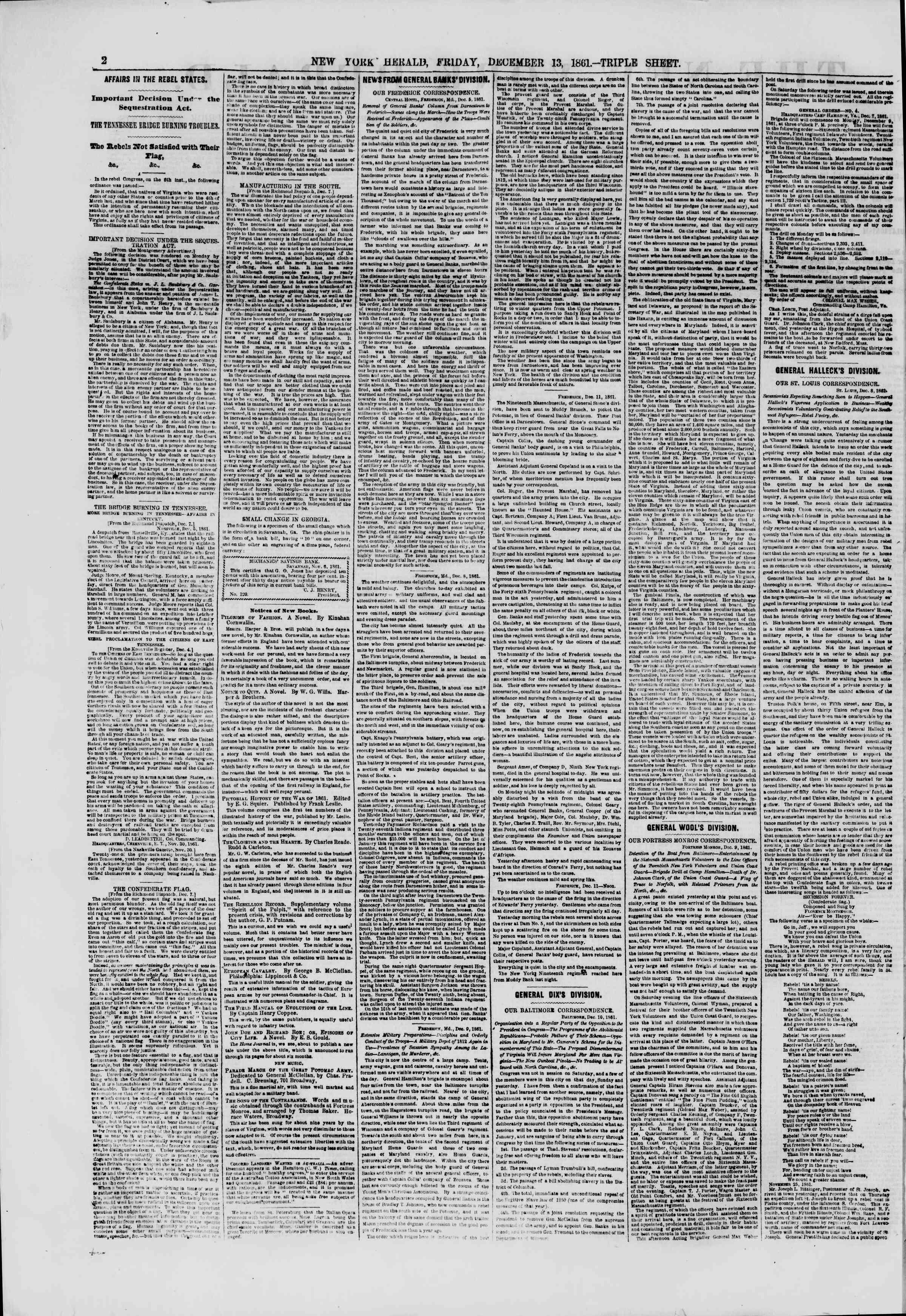 13 Aralık 1861 tarihli The New York Herald Gazetesi Sayfa 2