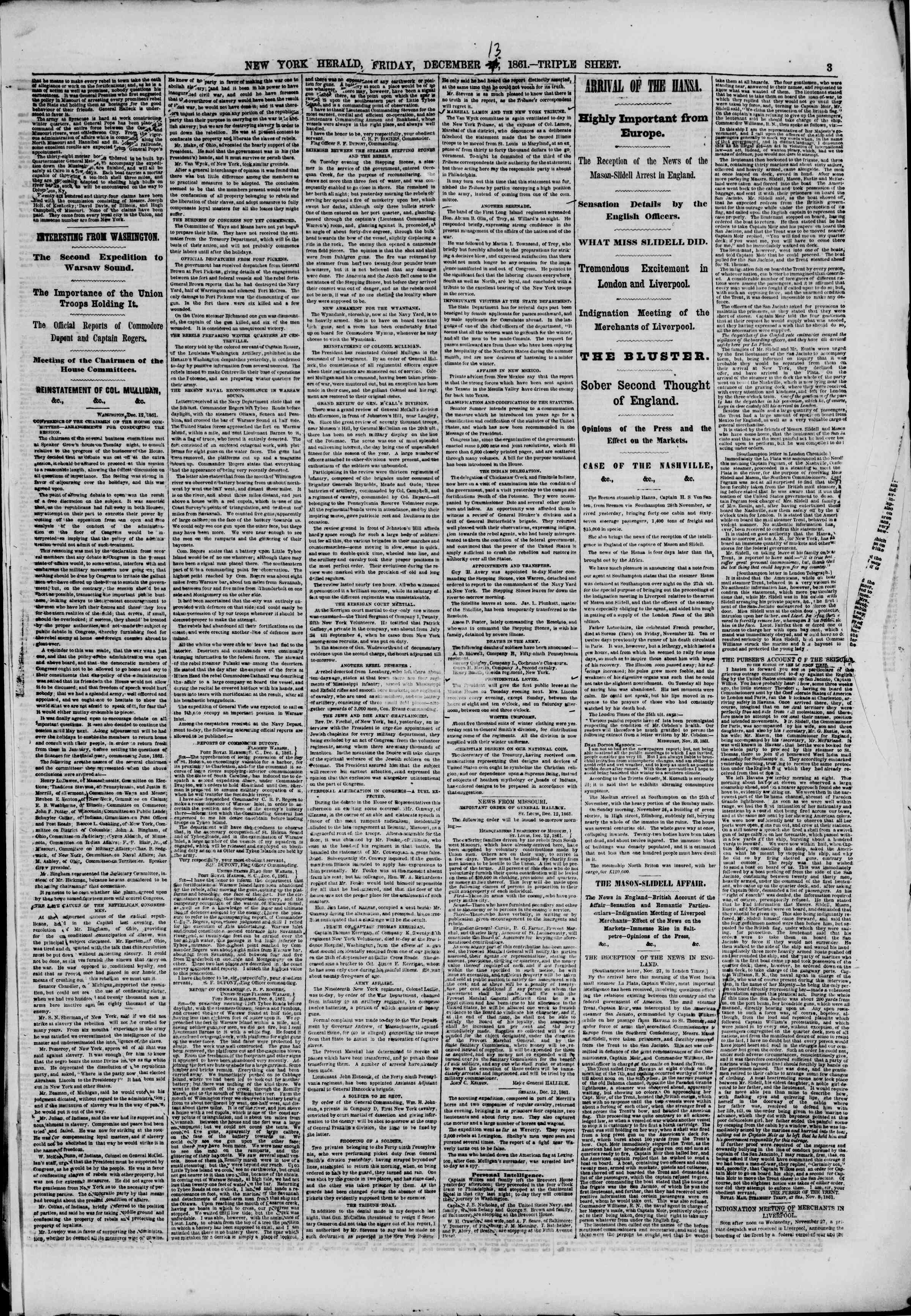 Newspaper of The New York Herald dated December 13, 1861 Page 3
