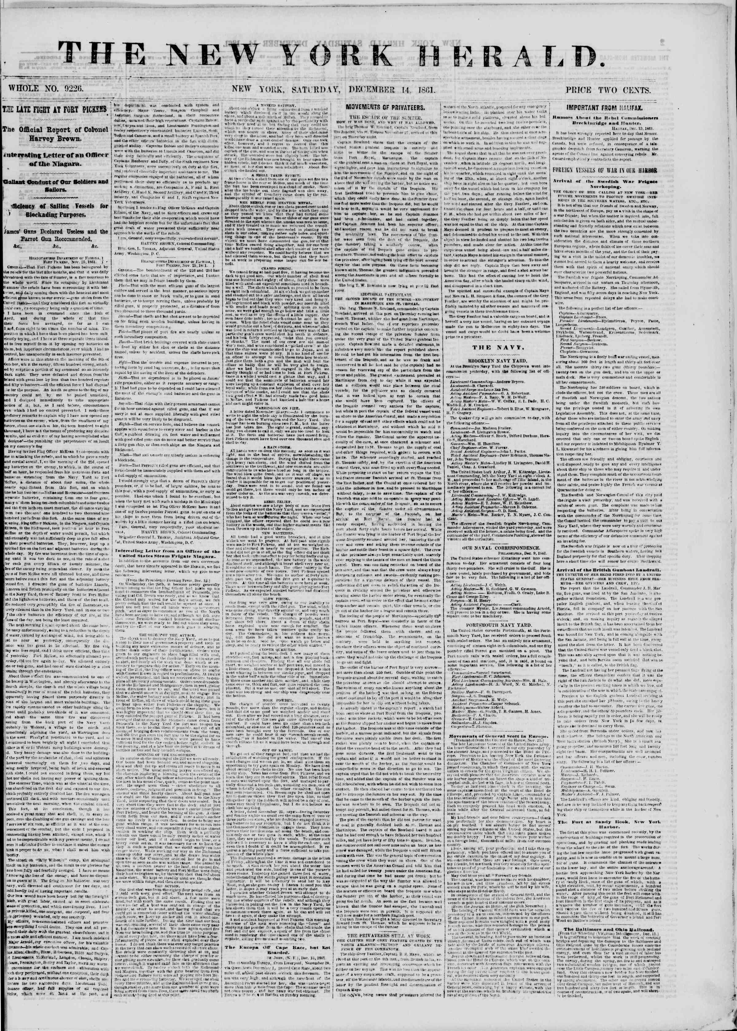 Newspaper of The New York Herald dated December 14, 1861 Page 1