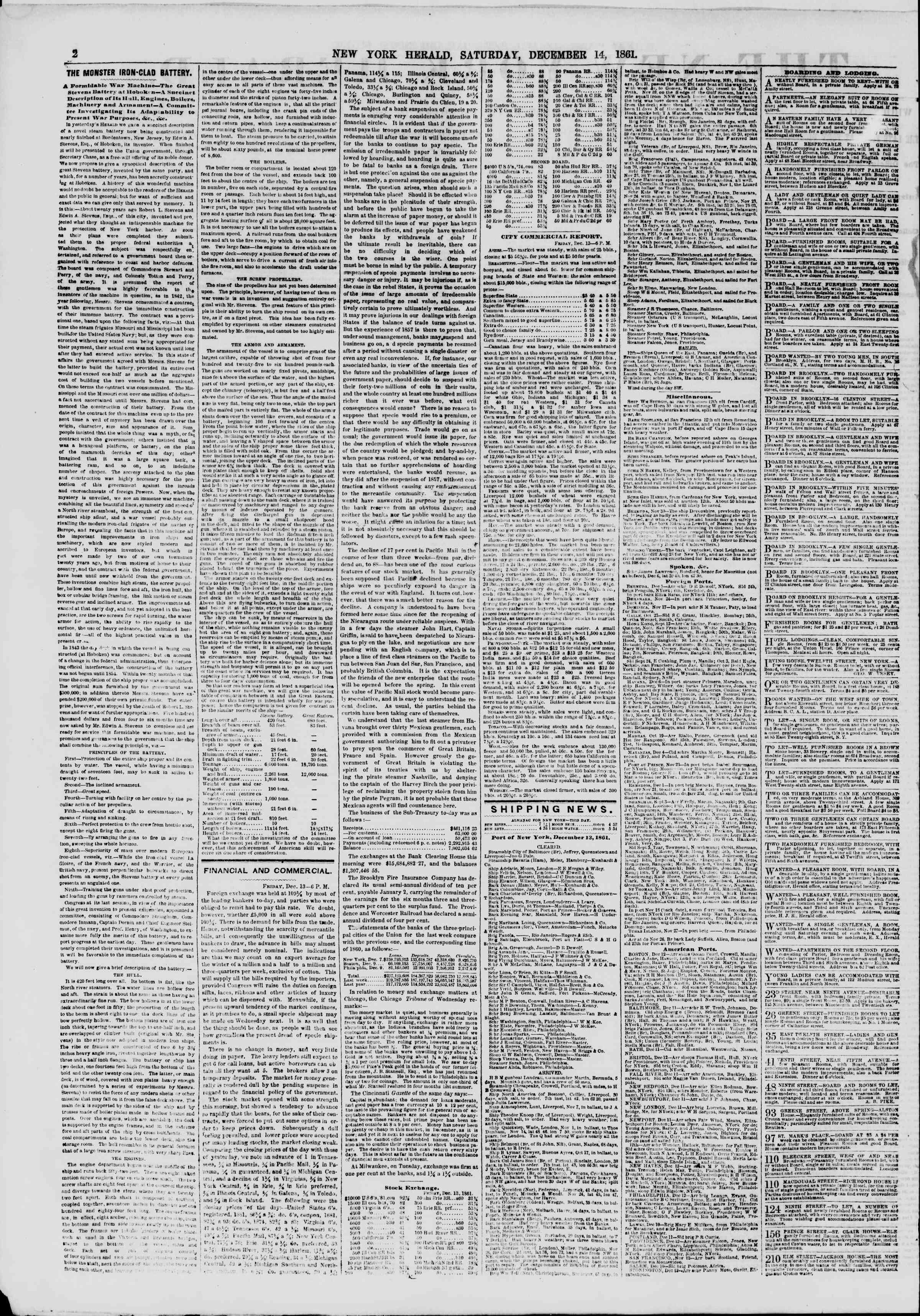 Newspaper of The New York Herald dated December 14, 1861 Page 2