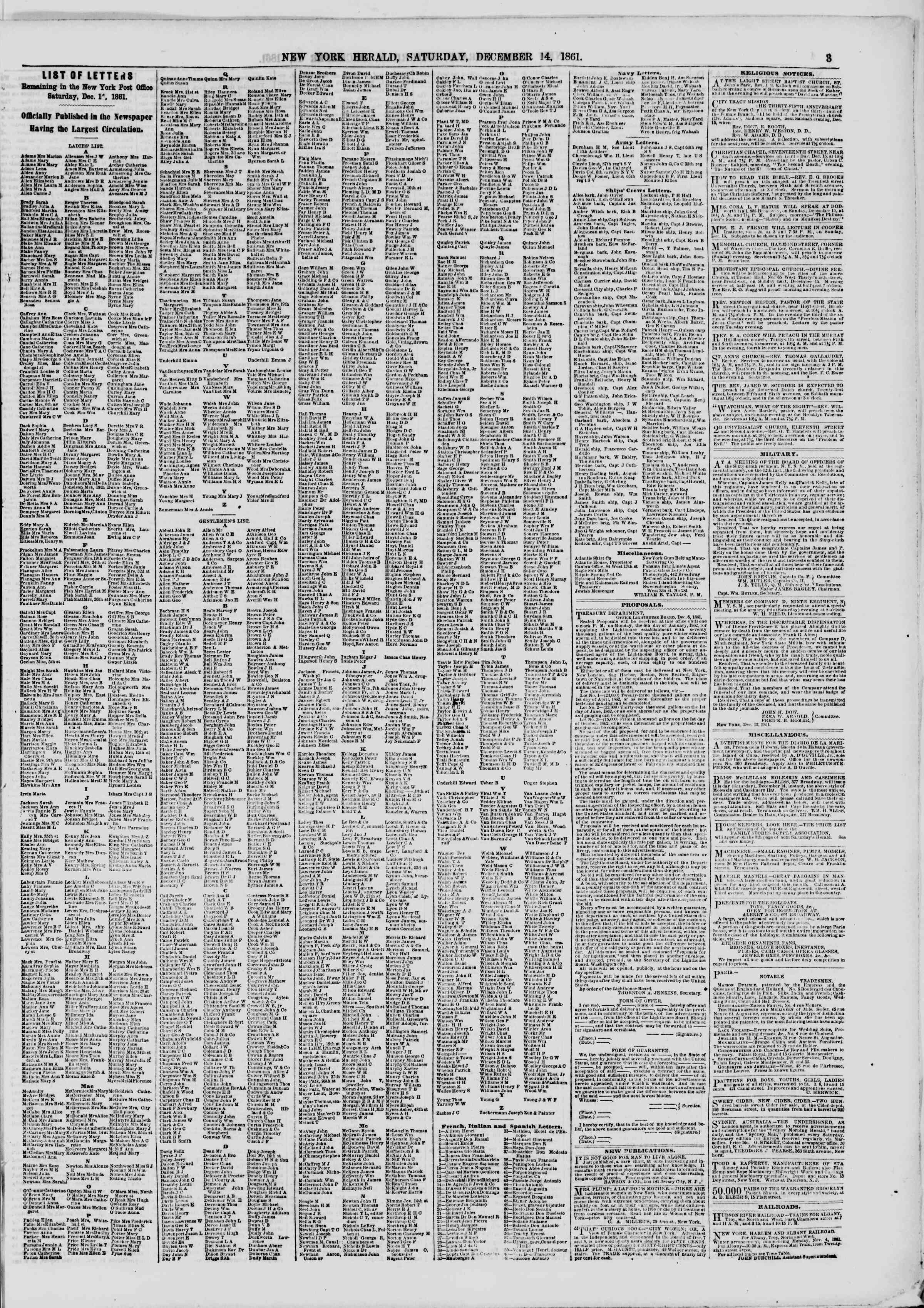 Newspaper of The New York Herald dated December 14, 1861 Page 3