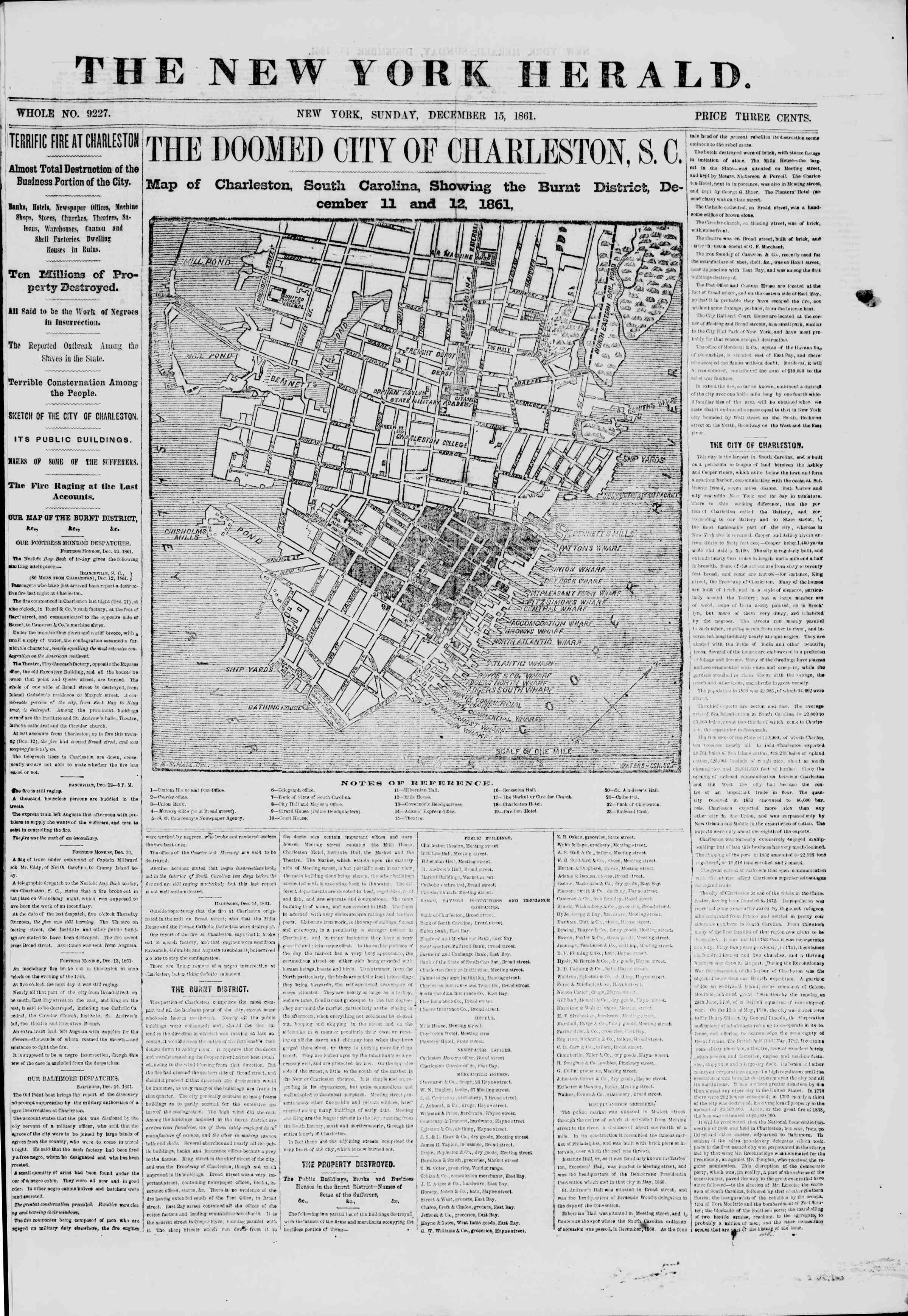 Newspaper of The New York Herald dated December 15, 1861 Page 1