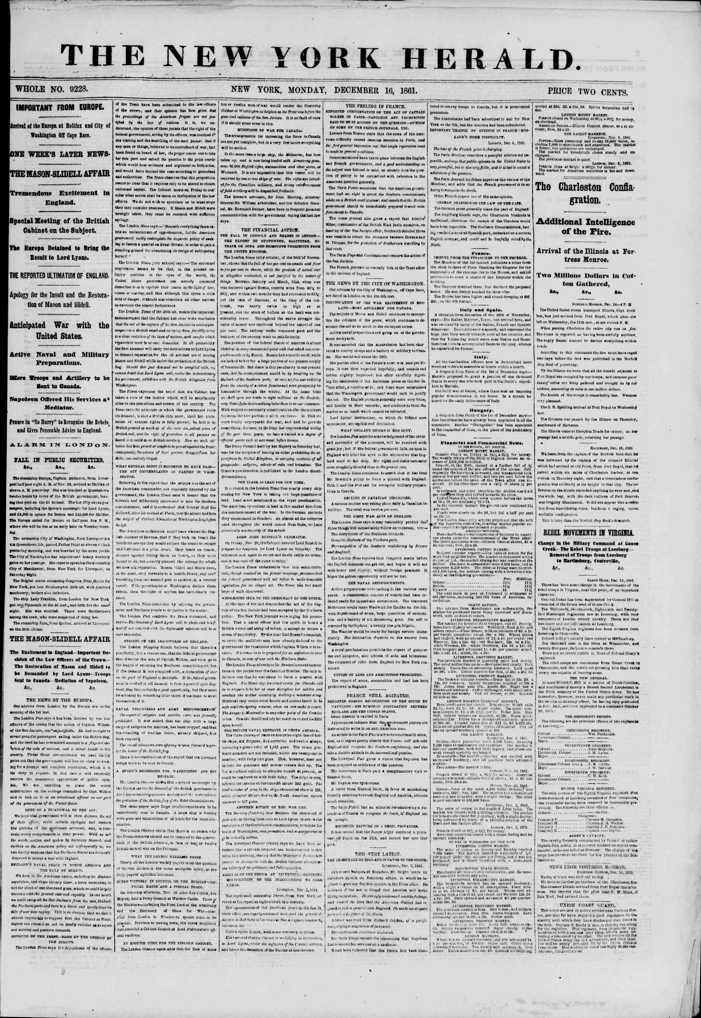 16 Aralık 1861 tarihli The New York Herald Gazetesi Sayfa 1