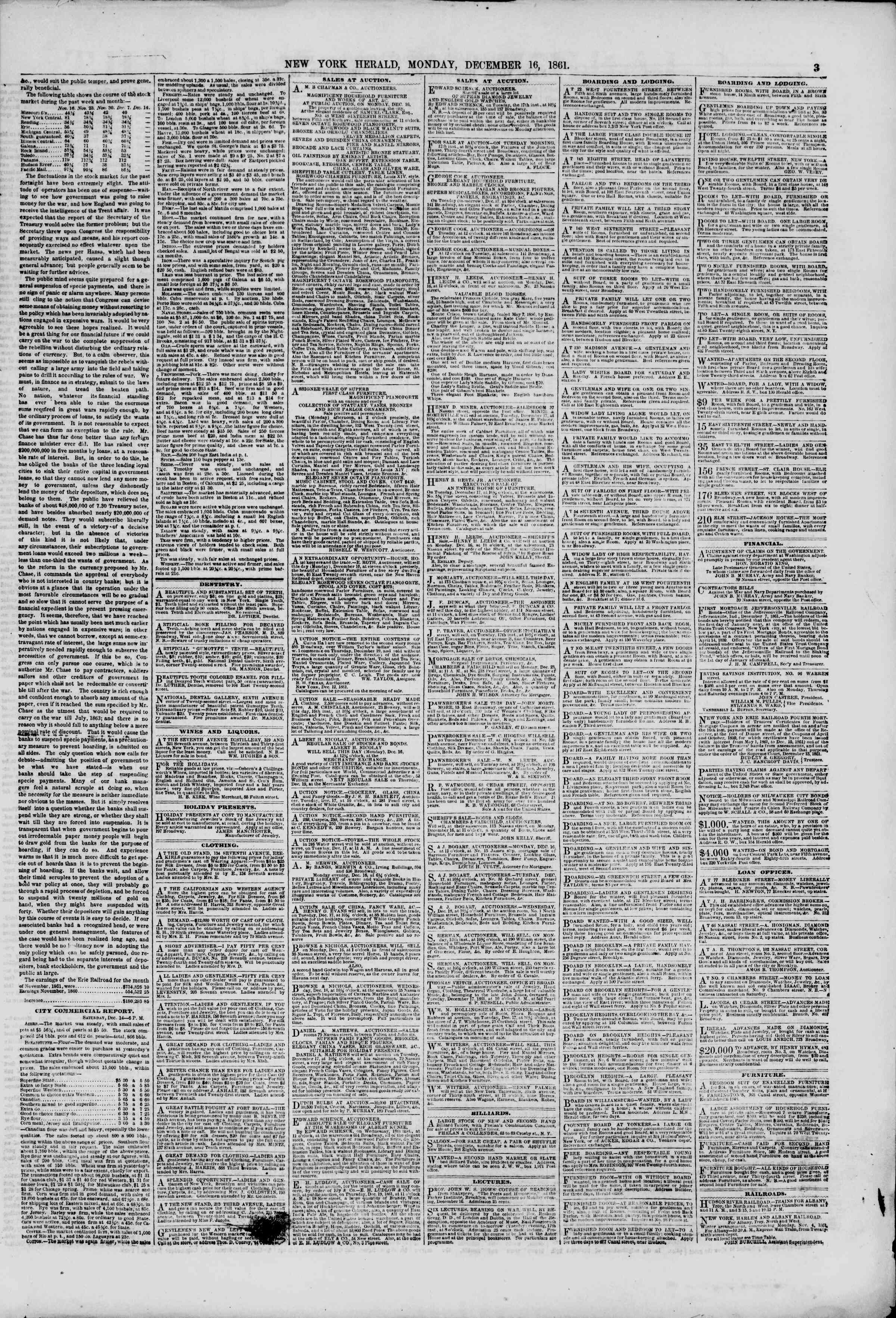 Newspaper of The New York Herald dated December 16, 1861 Page 3