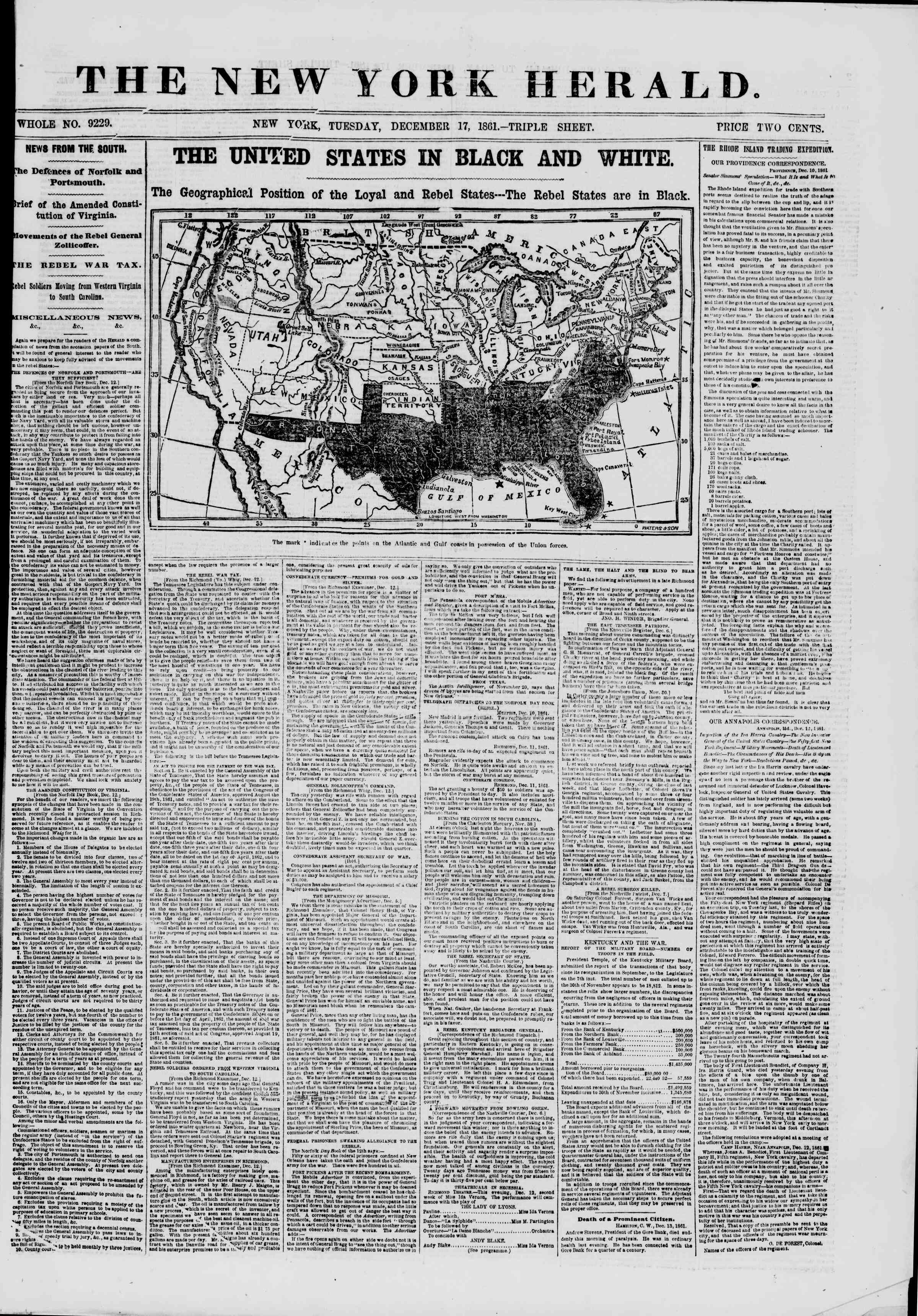 Newspaper of The New York Herald dated December 17, 1861 Page 1