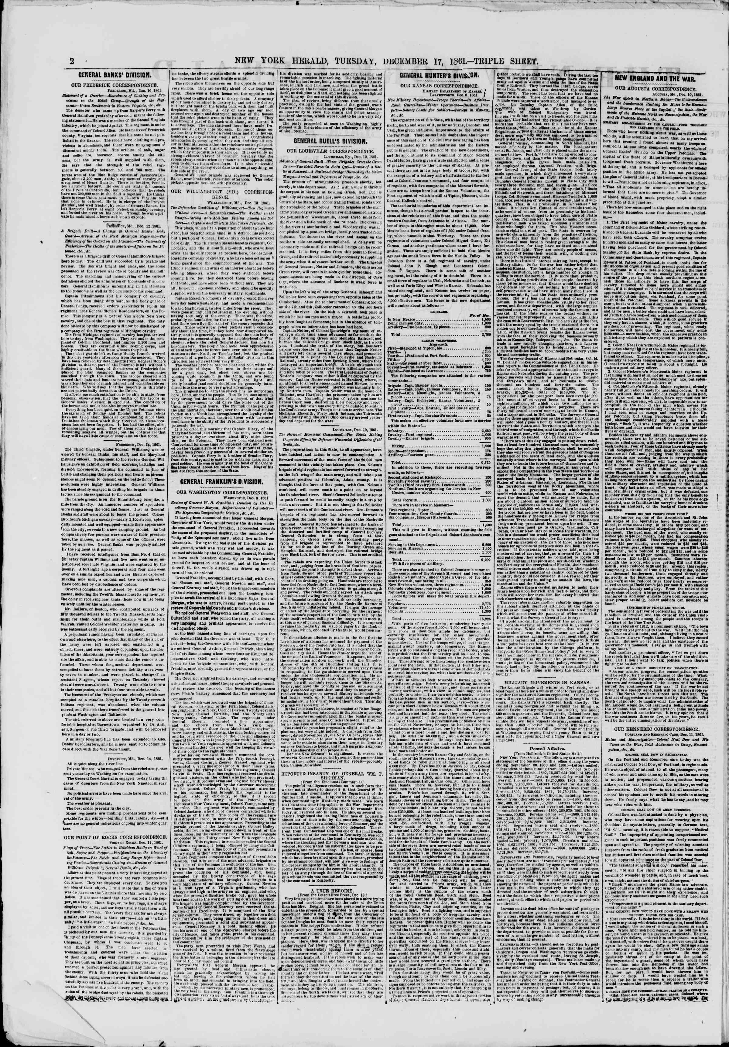 Newspaper of The New York Herald dated December 17, 1861 Page 2