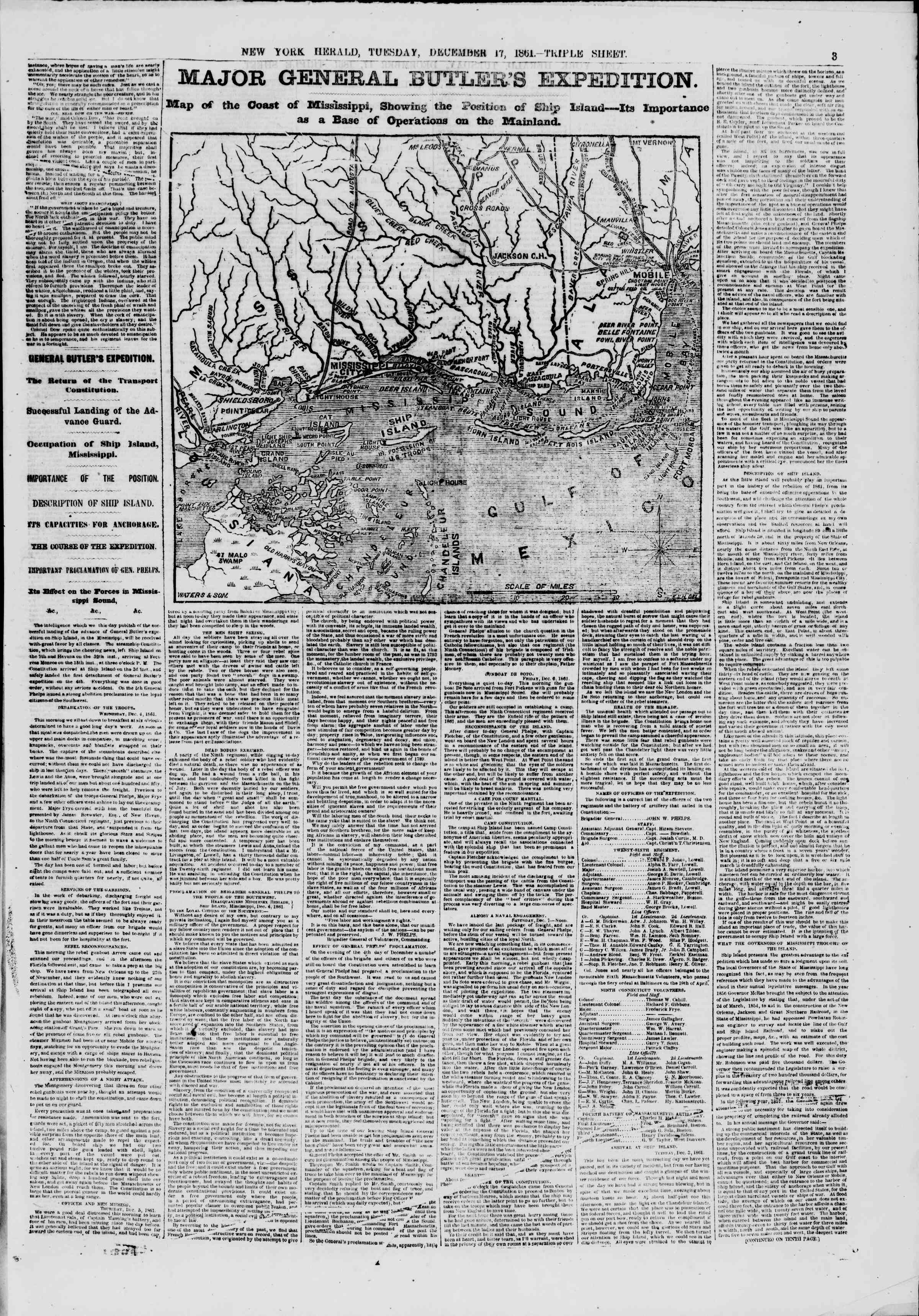Newspaper of The New York Herald dated December 17, 1861 Page 3