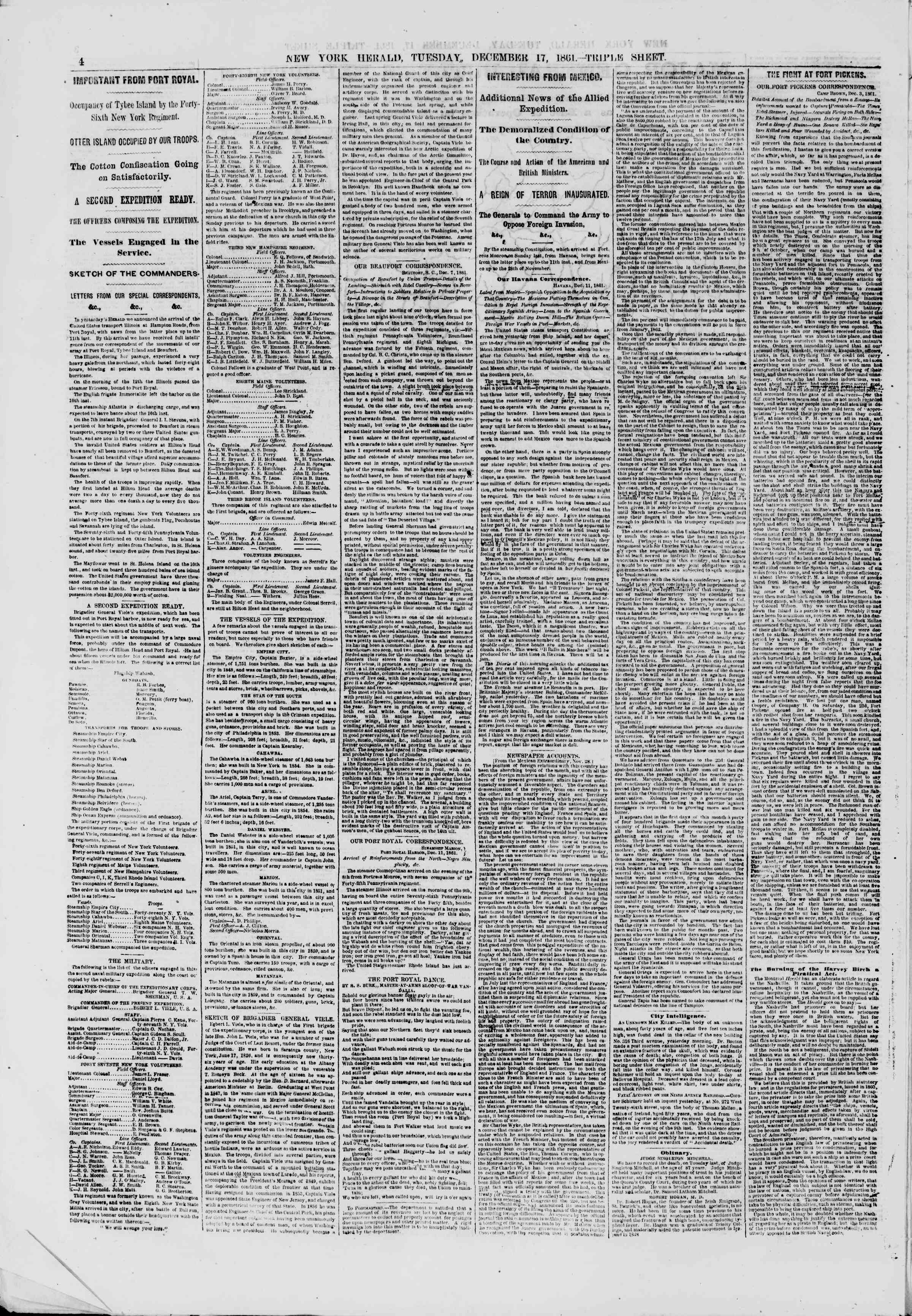 Newspaper of The New York Herald dated December 17, 1861 Page 4