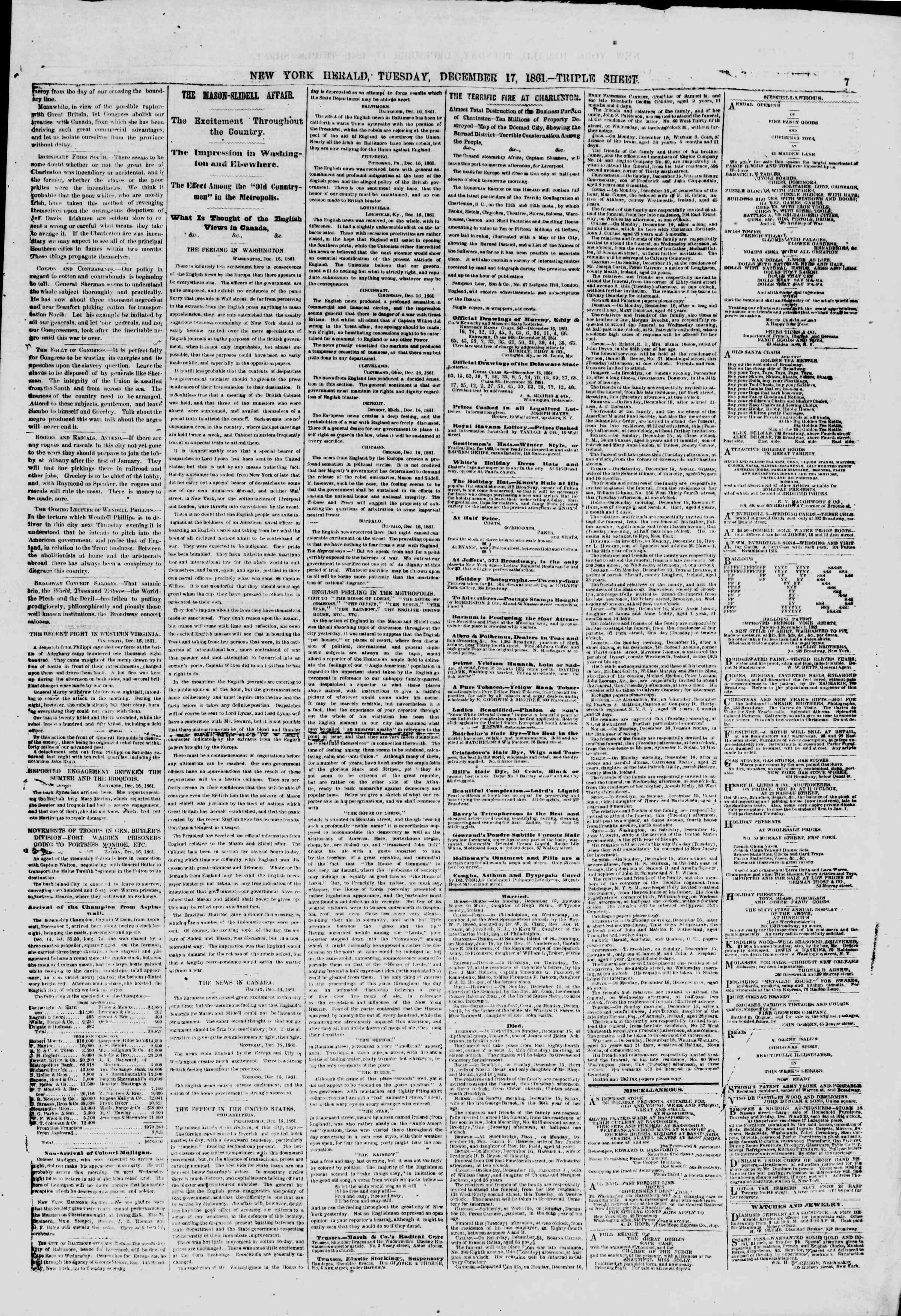 Newspaper of The New York Herald dated December 17, 1861 Page 7
