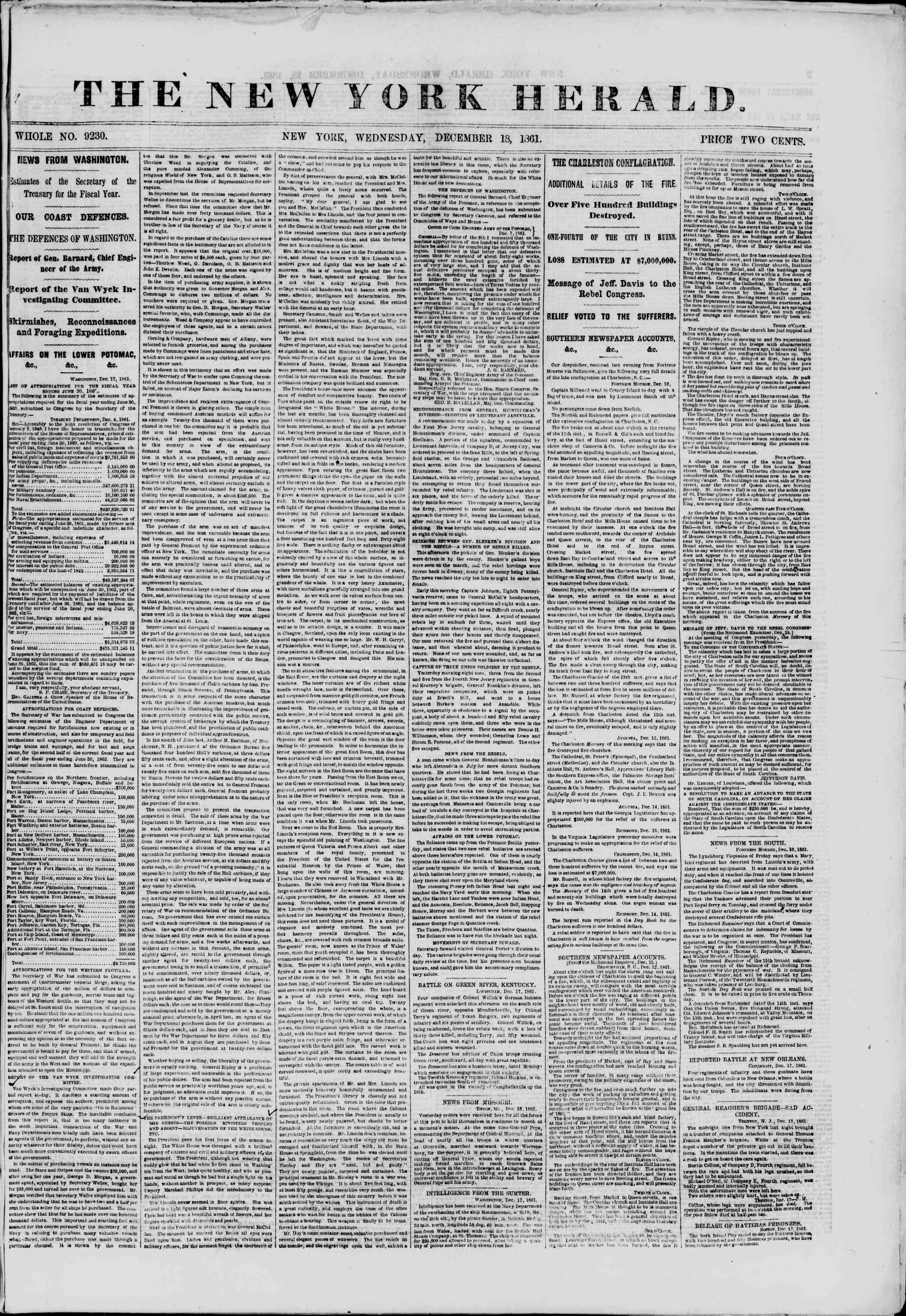 Newspaper of The New York Herald dated December 18, 1861 Page 1