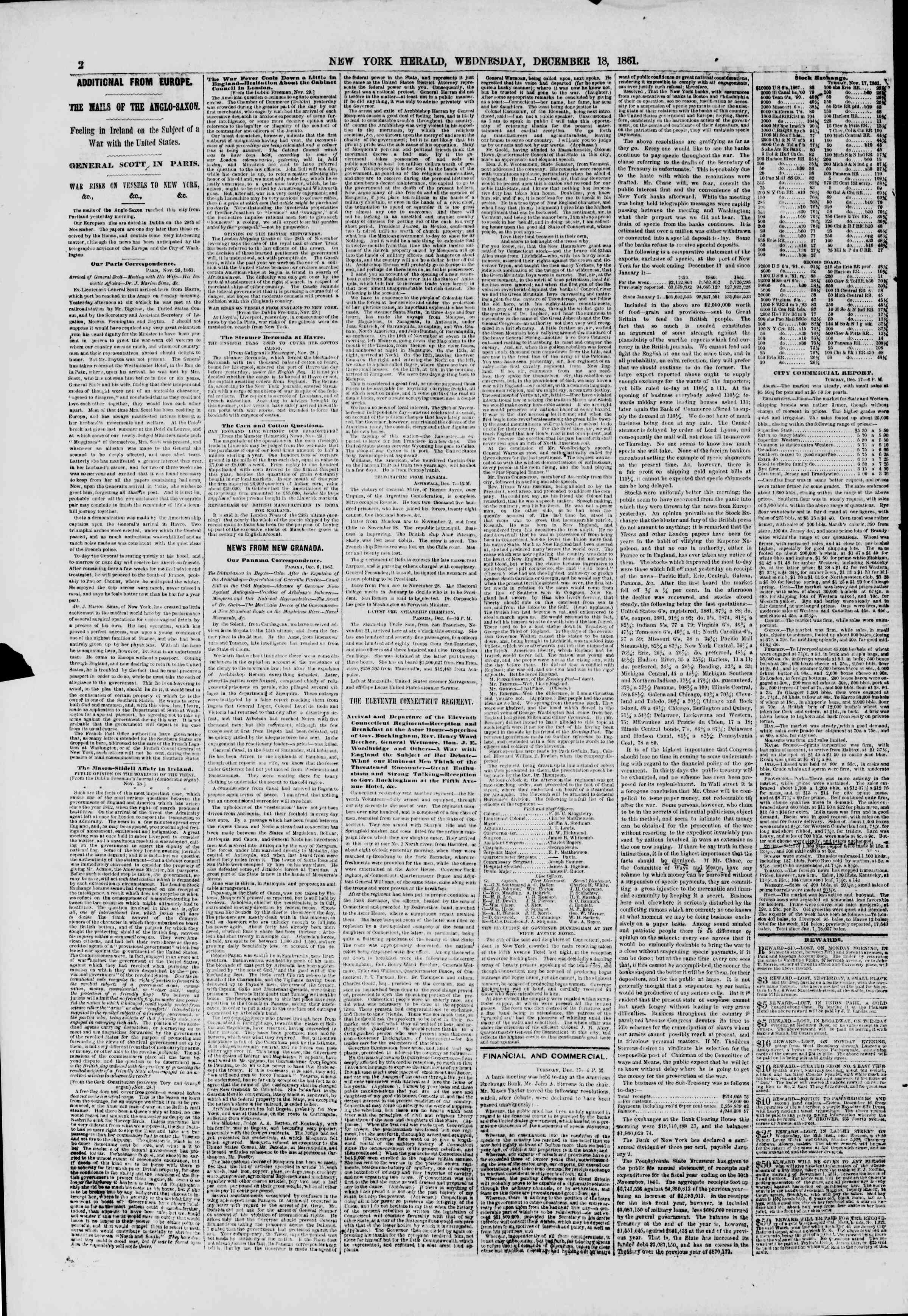 Newspaper of The New York Herald dated December 18, 1861 Page 2