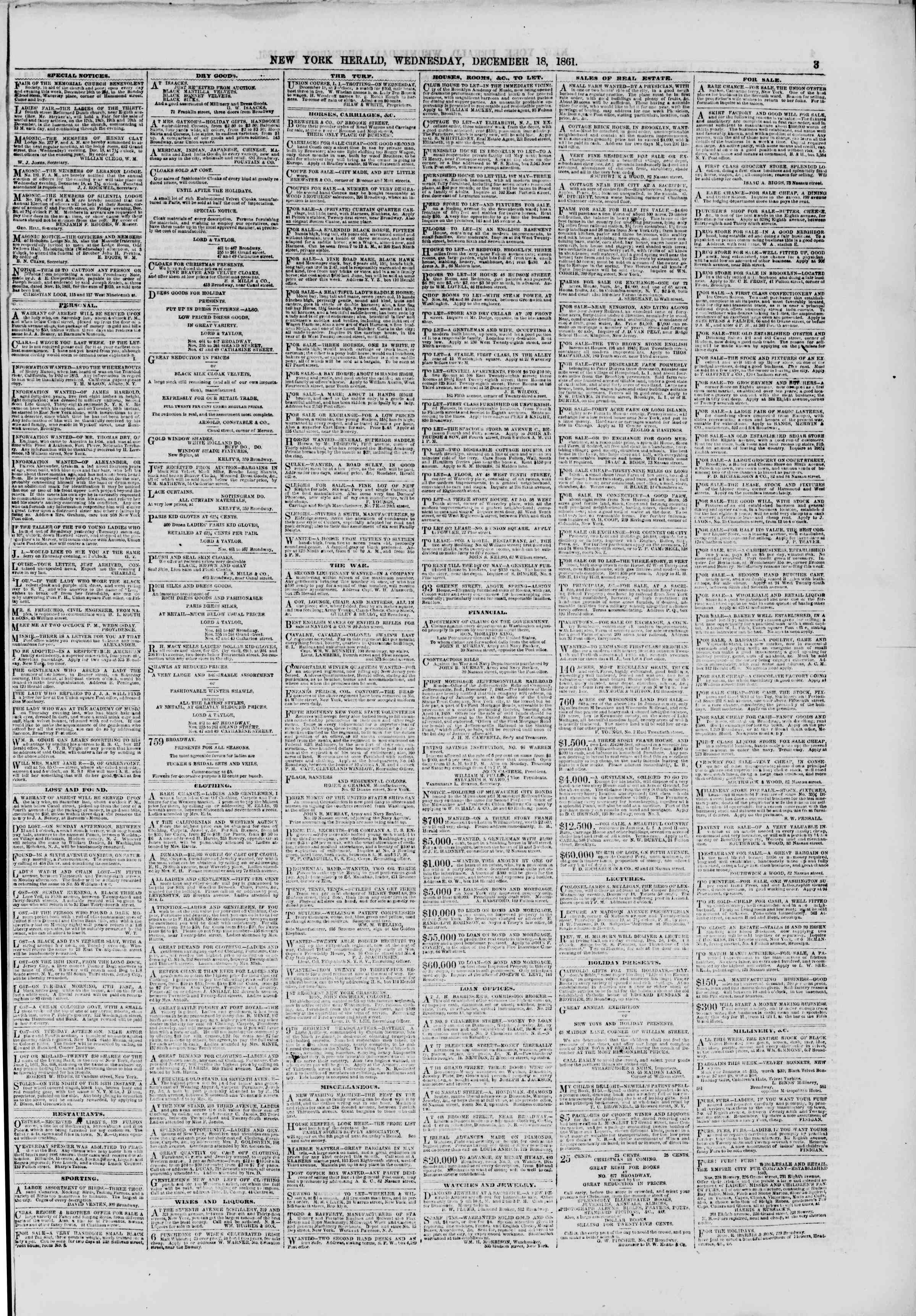 Newspaper of The New York Herald dated December 18, 1861 Page 3