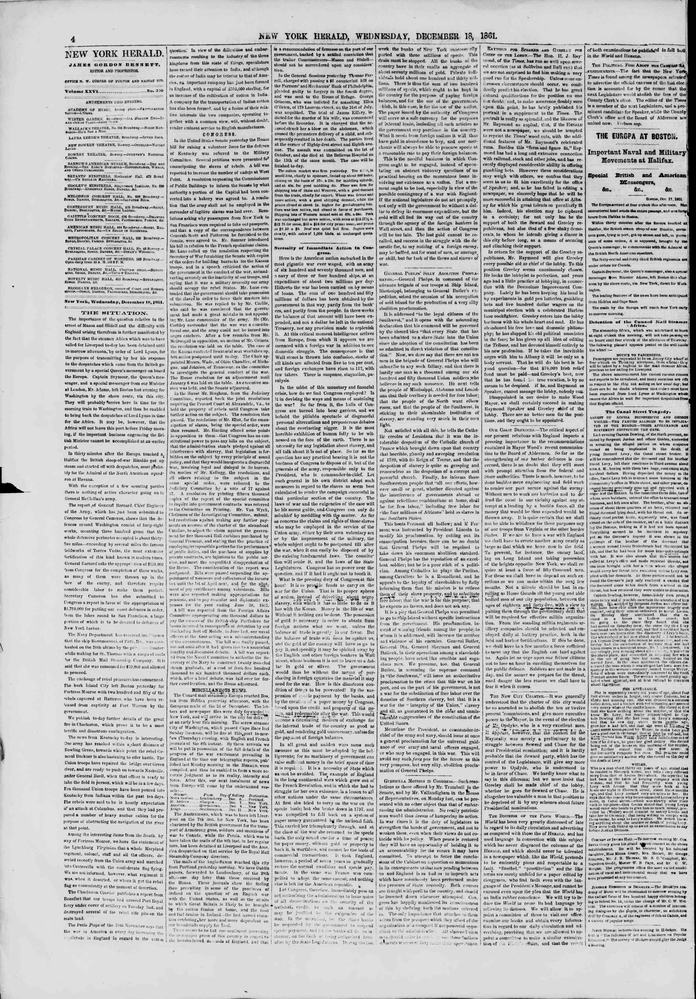 Newspaper of The New York Herald dated December 18, 1861 Page 4