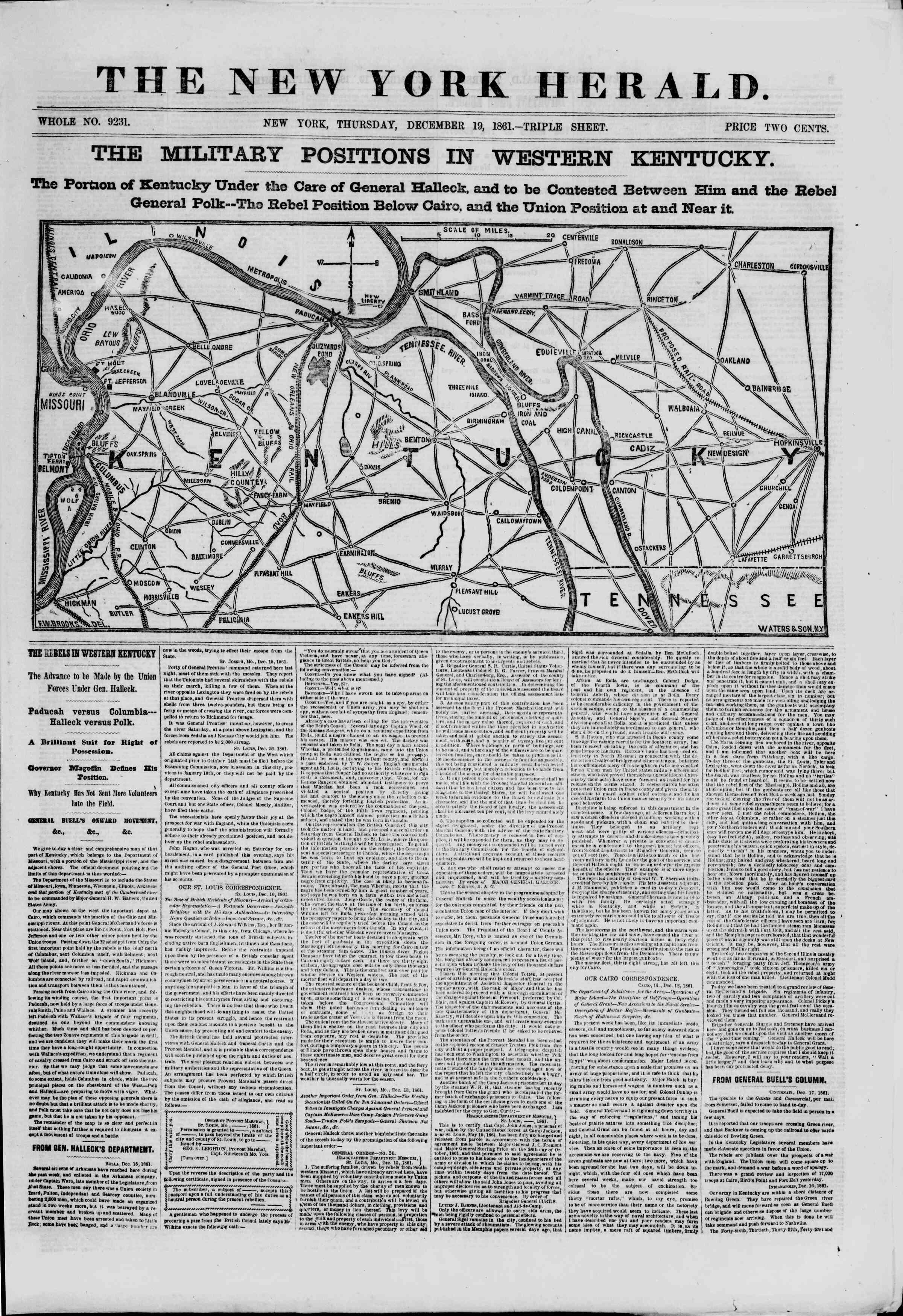 Newspaper of The New York Herald dated December 19, 1861 Page 1
