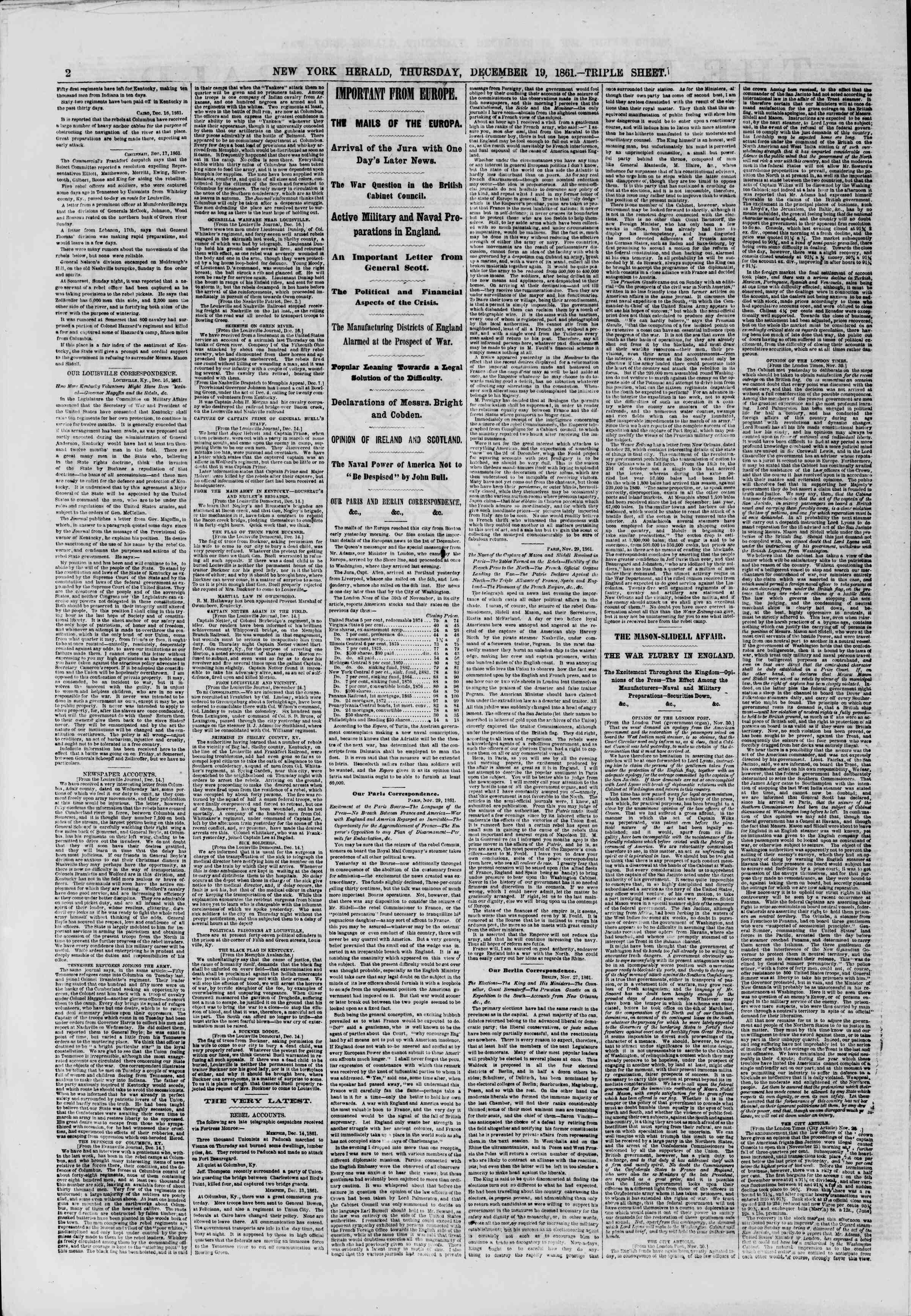 Newspaper of The New York Herald dated December 19, 1861 Page 2
