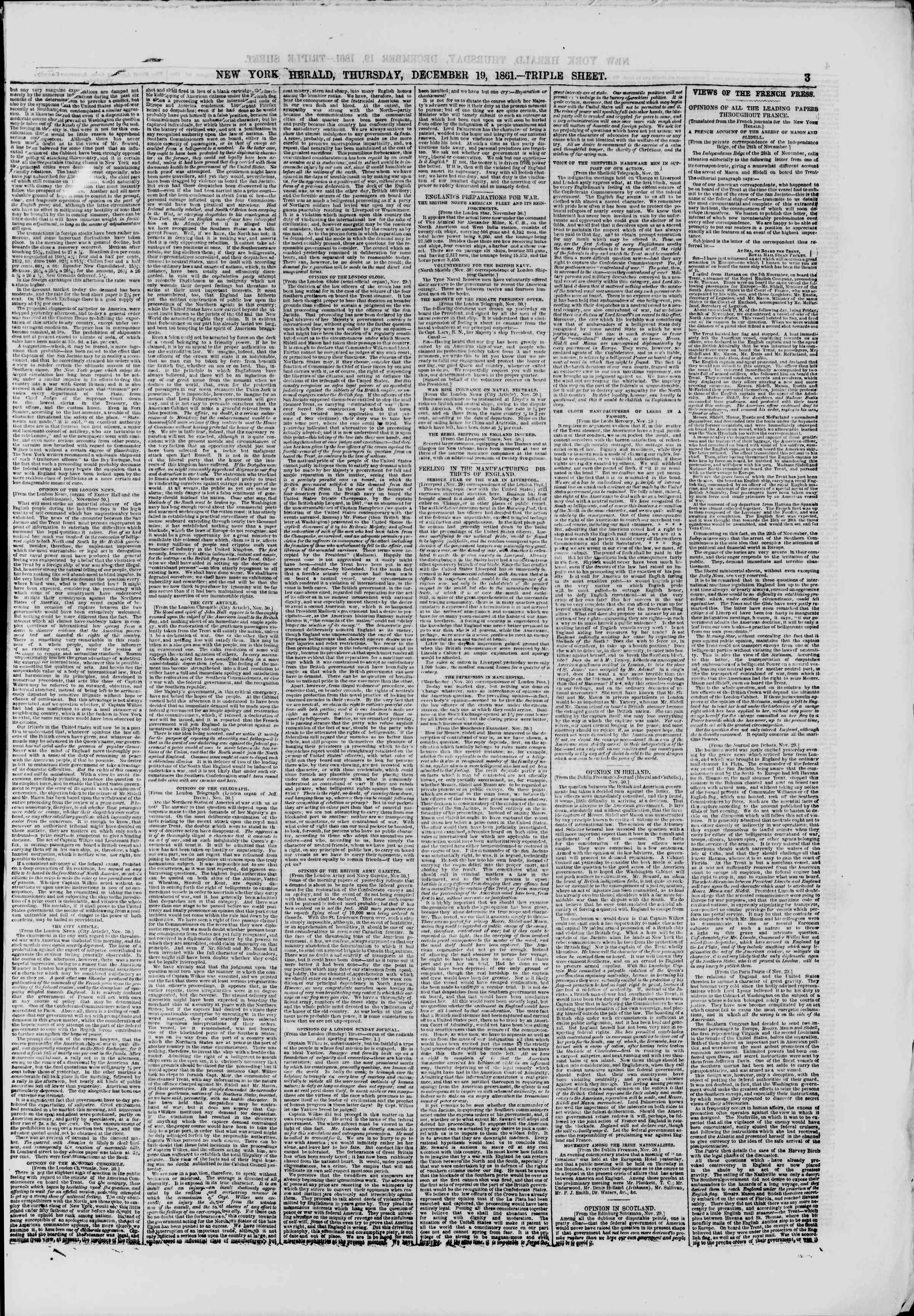 Newspaper of The New York Herald dated December 19, 1861 Page 3